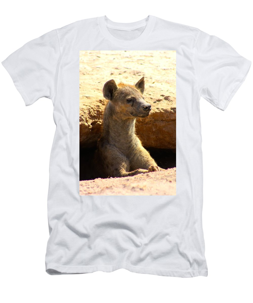 Hyena Men's T-Shirt (Athletic Fit) featuring the photograph Hyena In Den by Amanda Stadther
