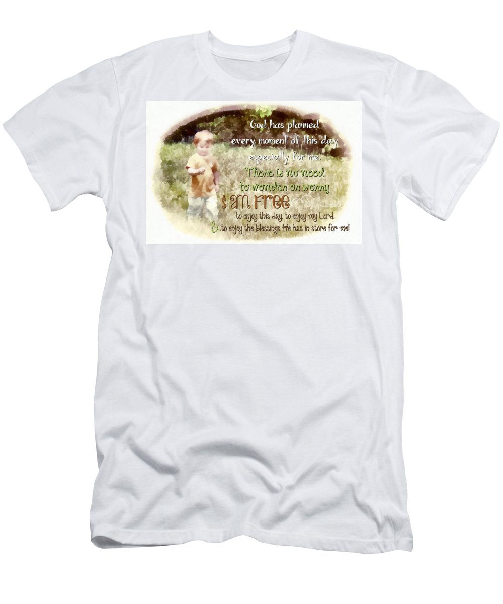 Jesus Men's T-Shirt (Athletic Fit) featuring the digital art I Am Free by Michelle Greene Wheeler