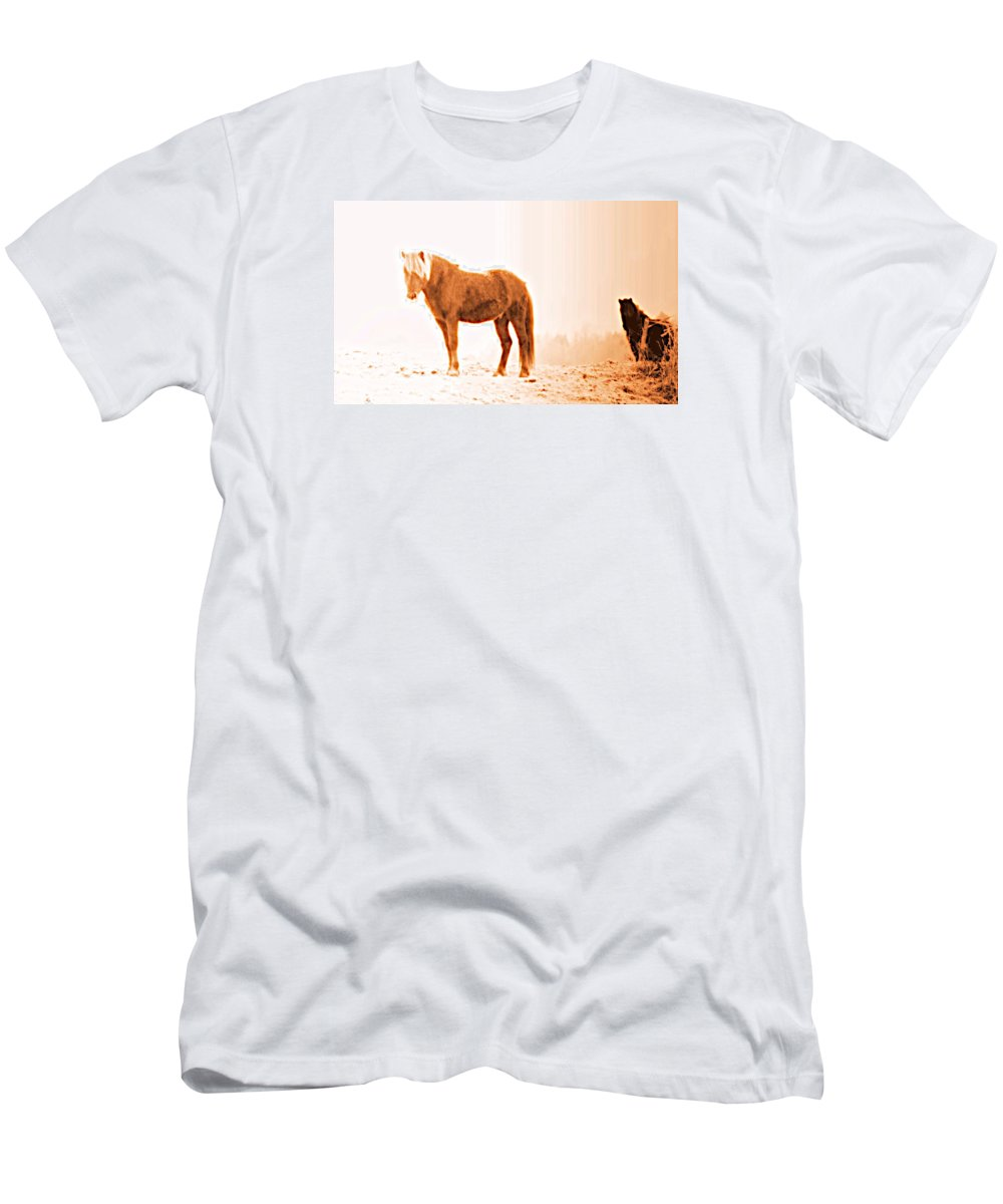 Horse Men's T-Shirt (Athletic Fit) featuring the photograph I Came Out Of Nothing To Meet You Here In Nomansland by Hilde Widerberg