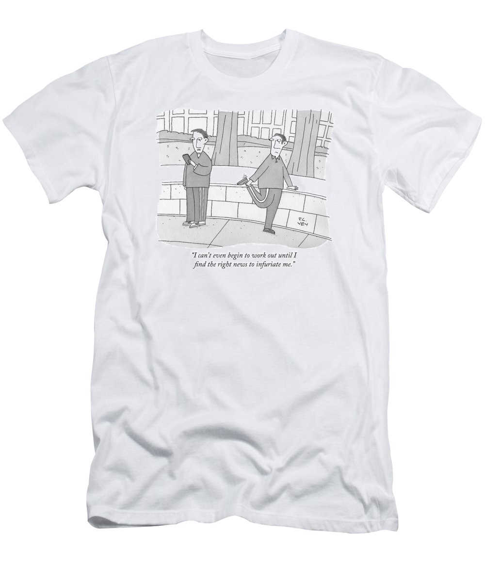Exercise Men's T-Shirt (Athletic Fit) featuring the drawing I Can't Even Begin To Work Out Until I Find by Peter C. Vey