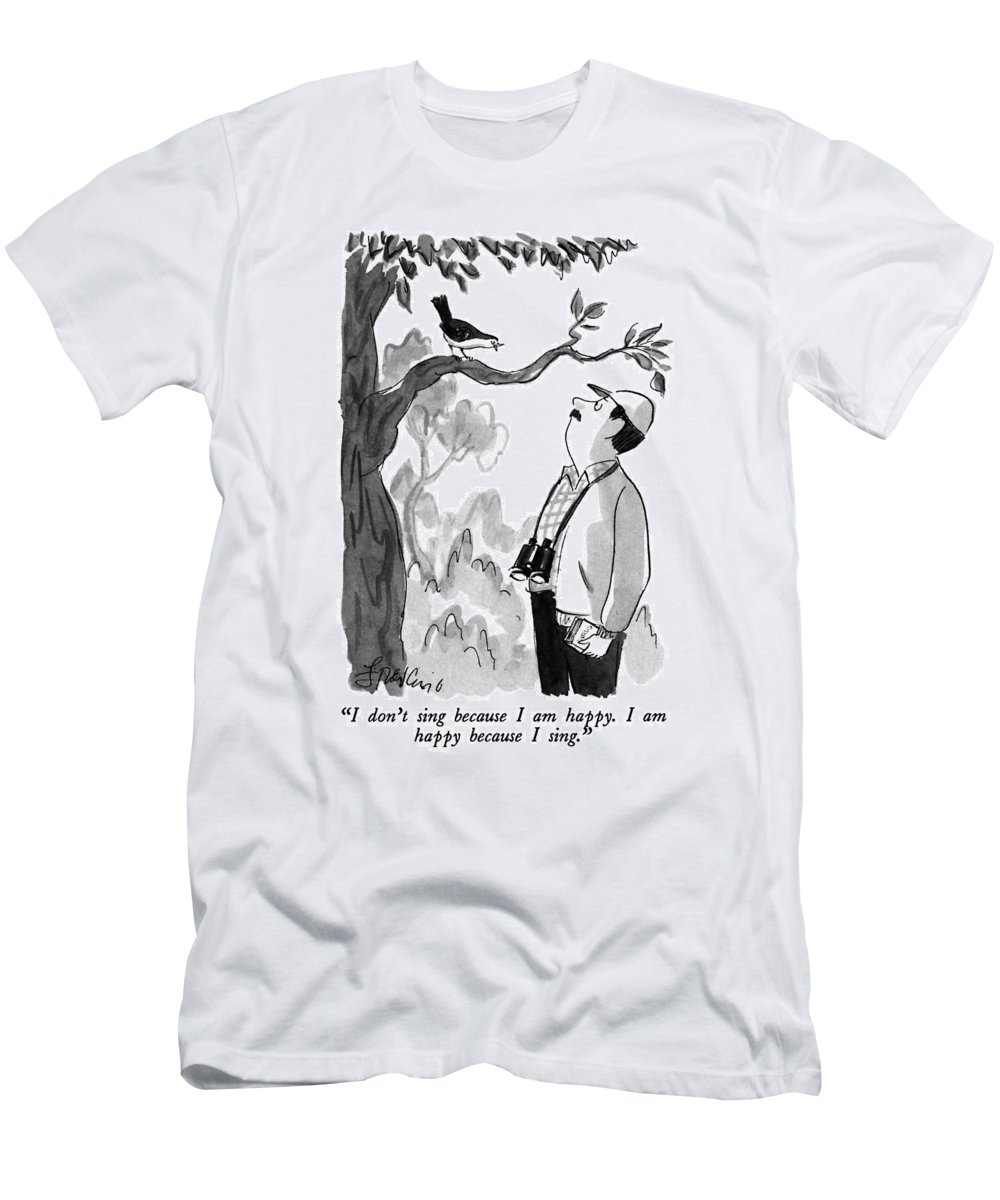 Bird To Bird Watcher. Animals Men's T-Shirt (Athletic Fit) featuring the drawing I Don't Sing Because I Am Happy. I Am Happy by Edward Frascino