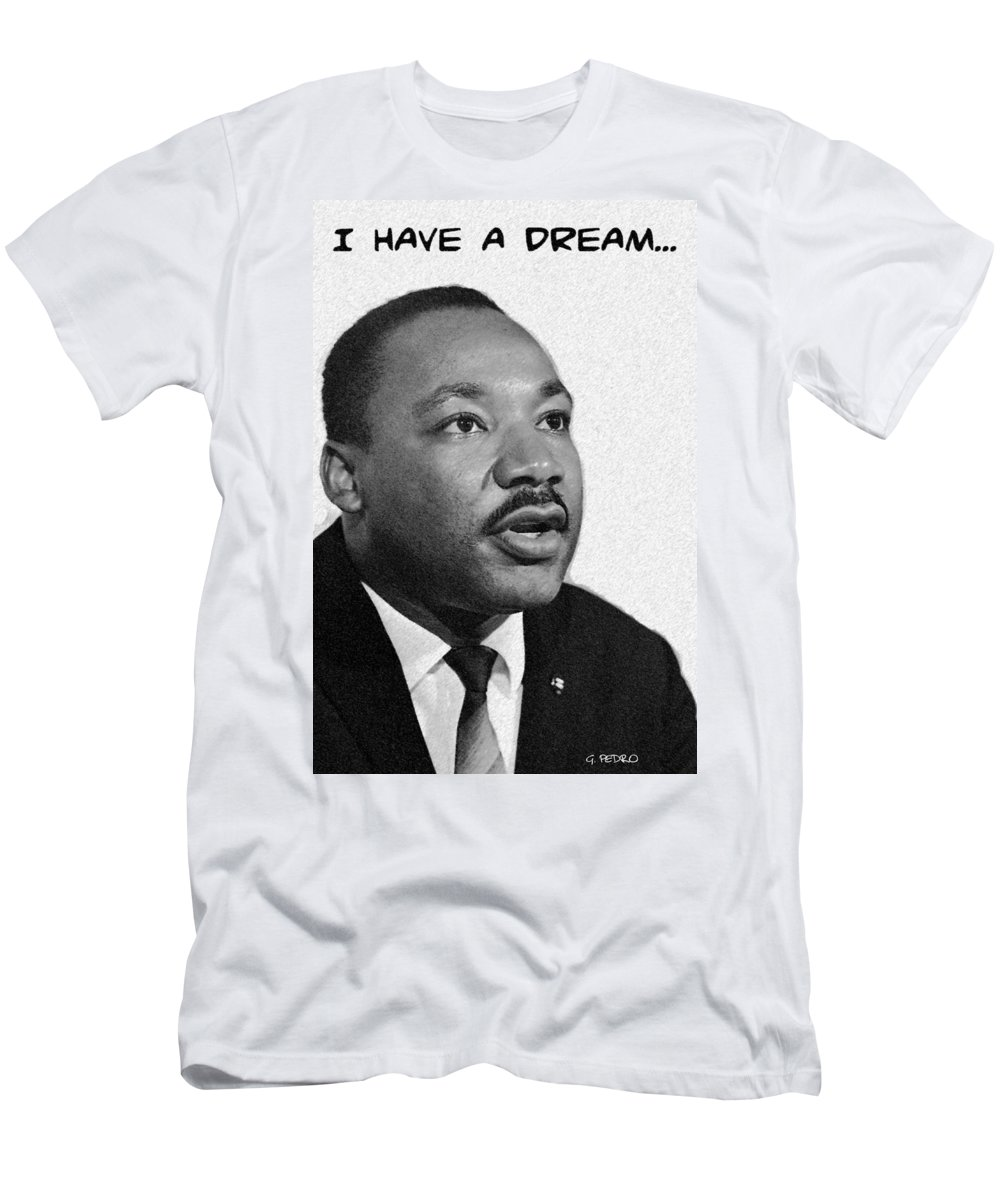 Martin Luther King Jr Dream Speech Civil Rights Leader Activist Peace March Republican African American Pastel Art Men's T-Shirt (Athletic Fit) featuring the digital art I Have A Dream... by George Pedro