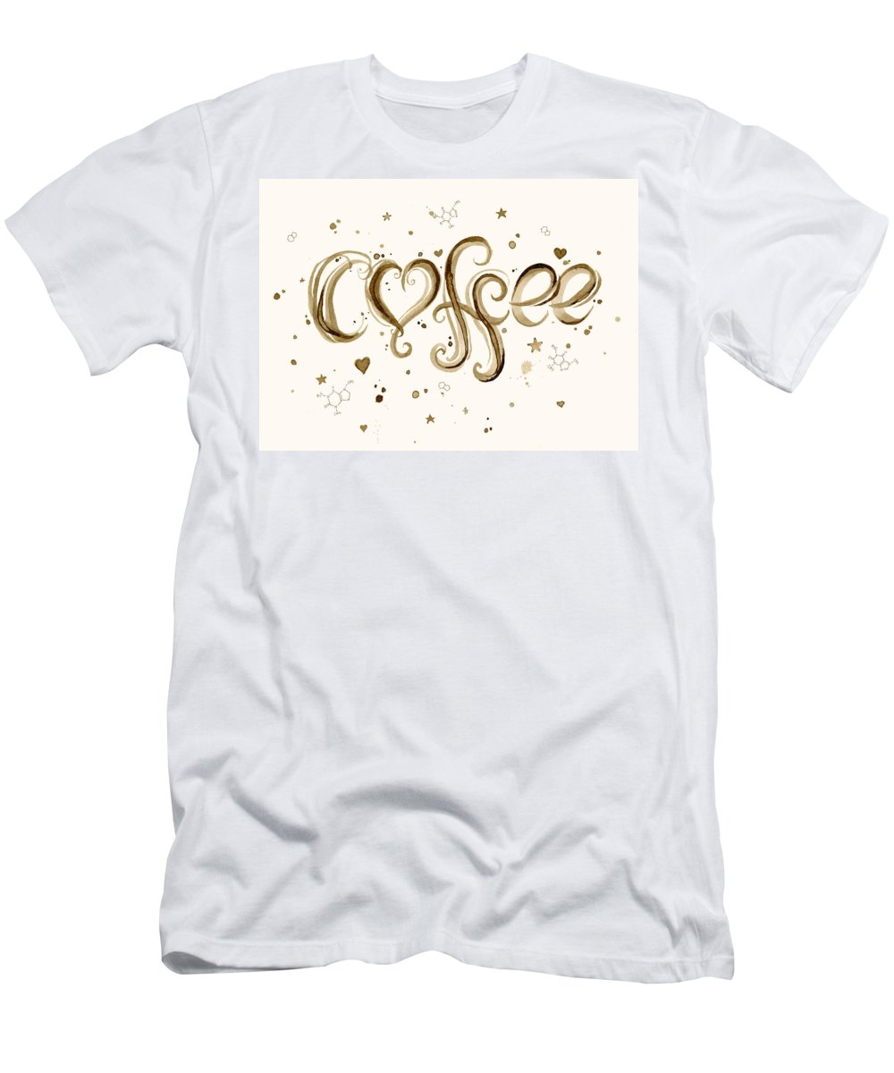 Watercolor Men's T-Shirt (Athletic Fit) featuring the painting I Love Coffee by Olga Shvartsur