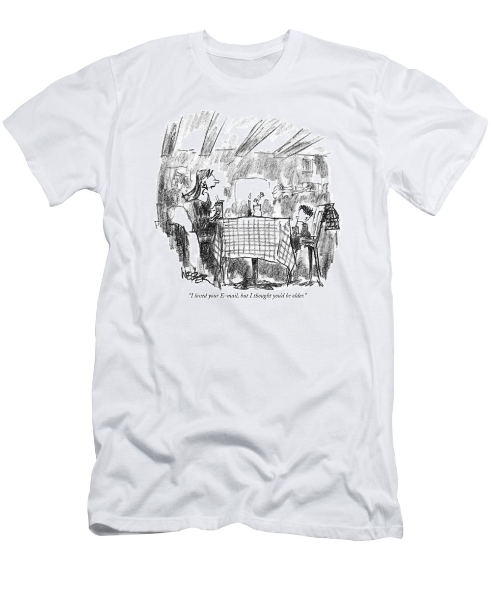 Technology Men's T-Shirt (Athletic Fit) featuring the drawing I Loved Your E-mail by Robert Weber