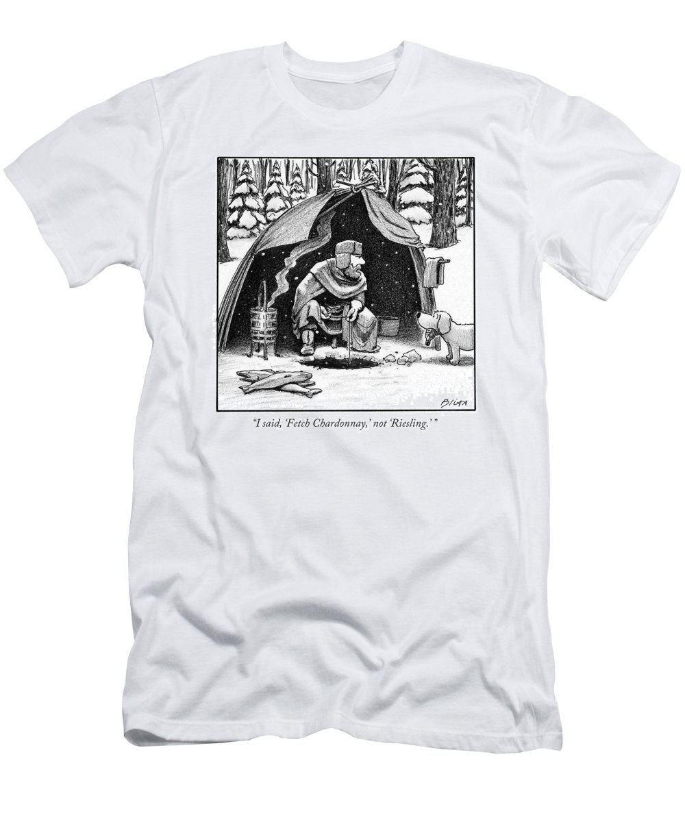 Wine T-Shirt featuring the drawing I Said, 'fetch Chardonnay,' Not 'riesling.' by Harry Bliss