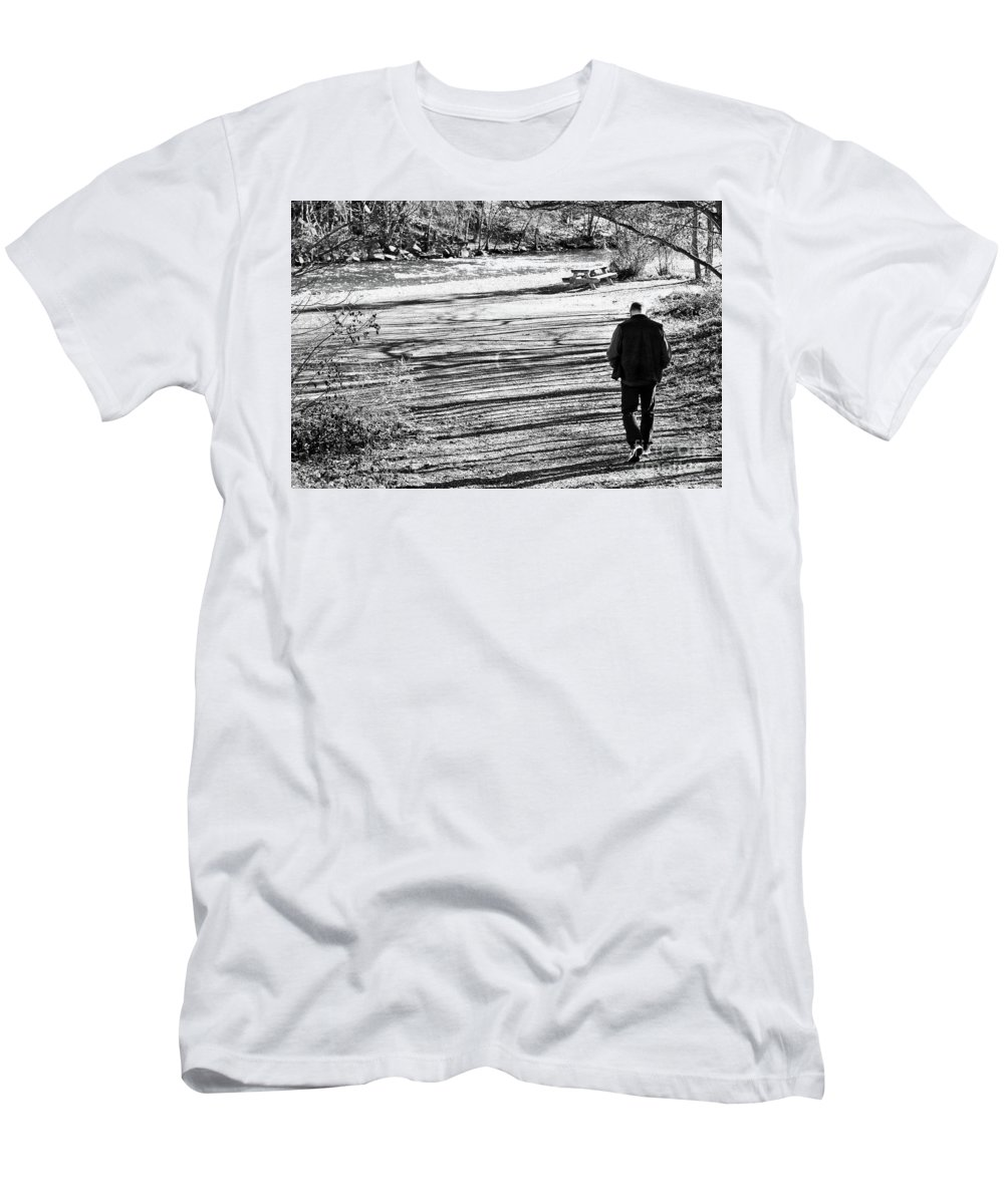Person Men's T-Shirt (Athletic Fit) featuring the photograph I Walk Alone by Lori Tambakis