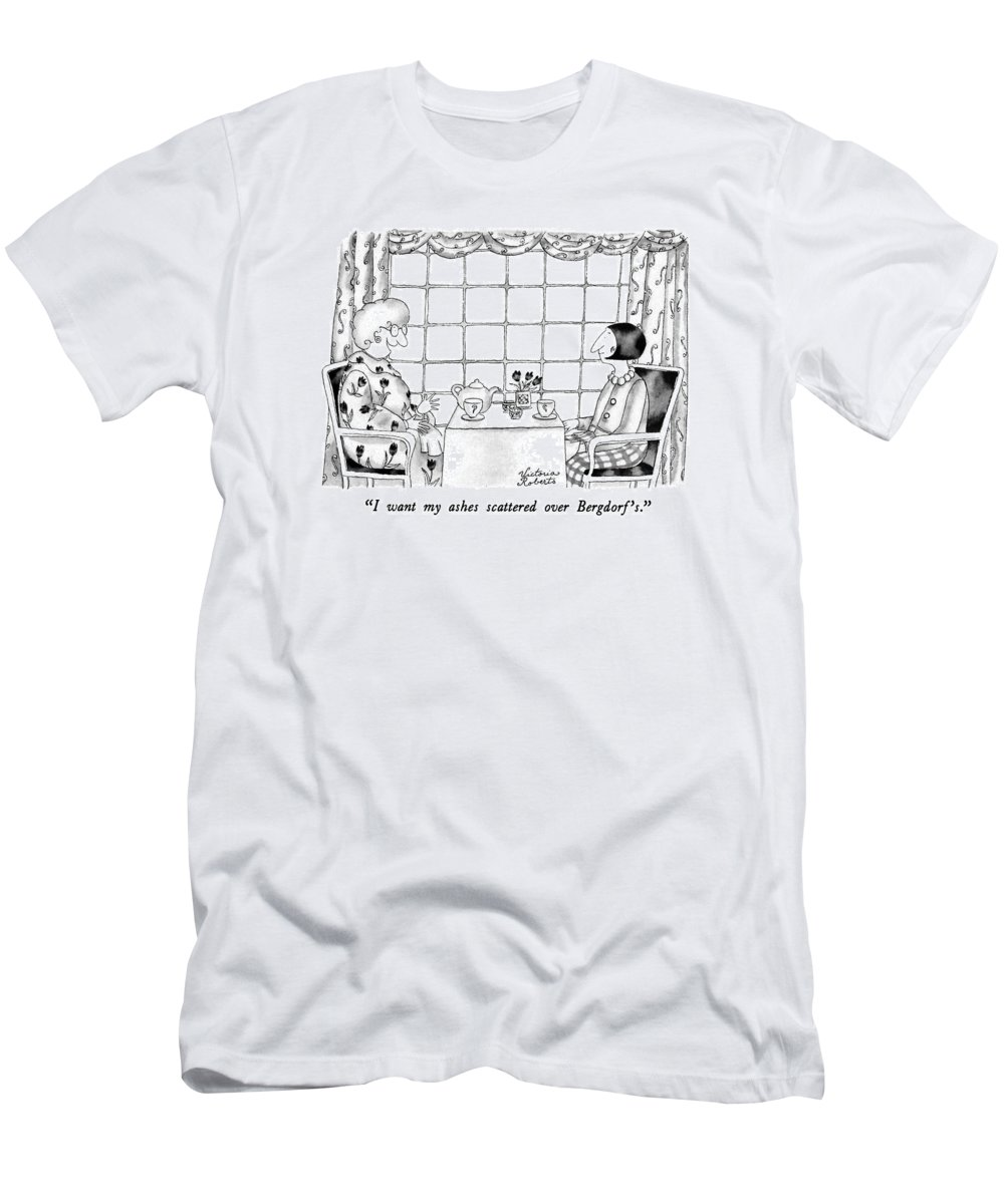 One Woman To Another Having Tea Men's T-Shirt (Athletic Fit) featuring the drawing I Want My Ashes Scattered Over Bergdorf's by Victoria Roberts