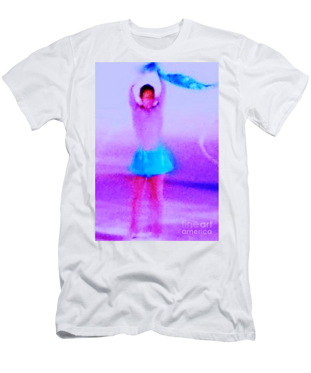 Ice Men's T-Shirt (Athletic Fit) featuring the photograph Ice Skater Abstract by Eric Schiabor