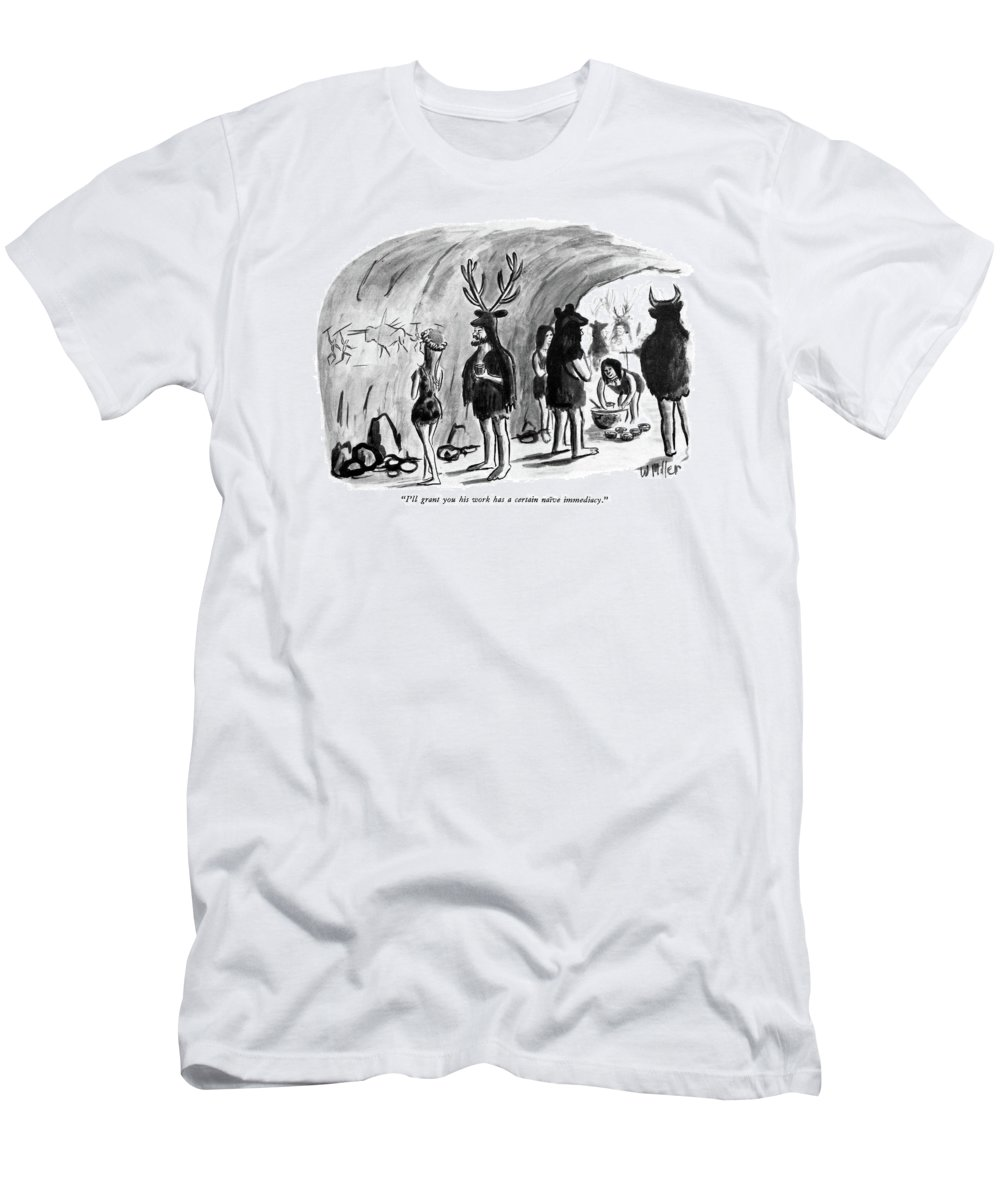 83032 Wmi Warren Miller (caveman To Cave Woman As They View Cave Paintings T-Shirt featuring the drawing I'll Grant You His Work Has A Certain Naive by Warren Miller