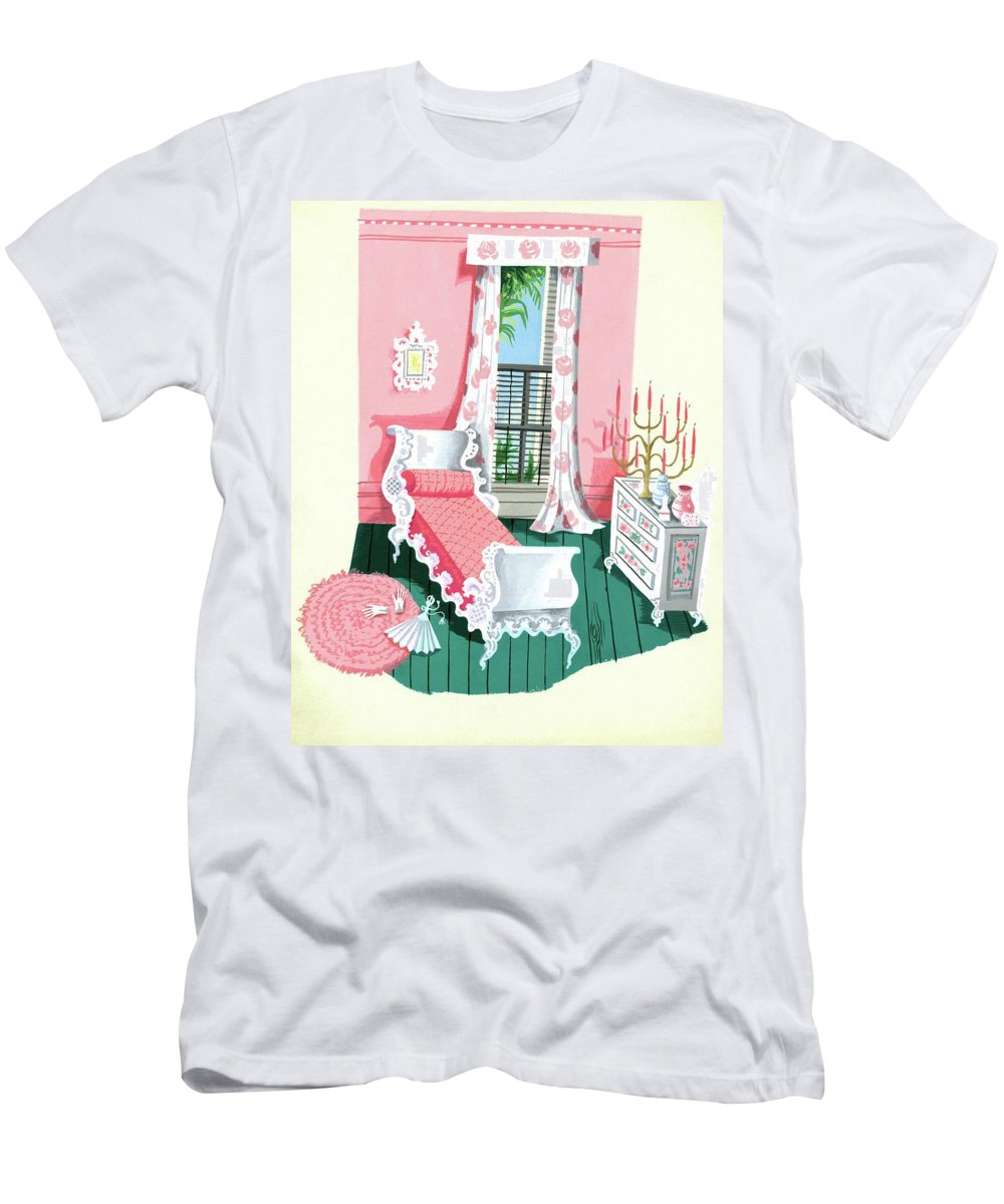 Bedroom T-Shirt featuring the digital art Illustration Of A Victorian Style Pink And Green by Edna Eicke