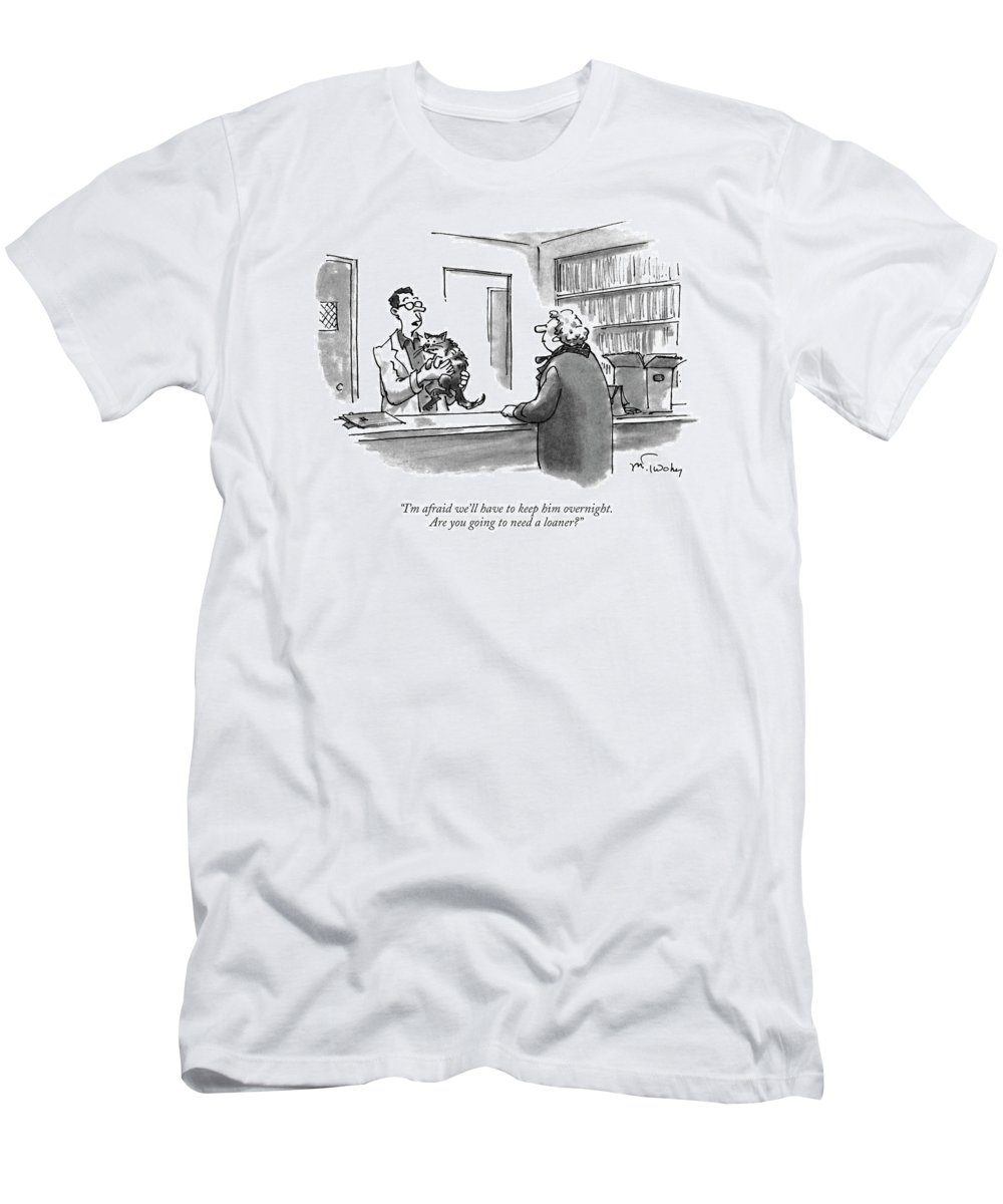Animals T-Shirt featuring the drawing I'm Afraid We'll Have To Keep Him Overnight by Mike Twohy