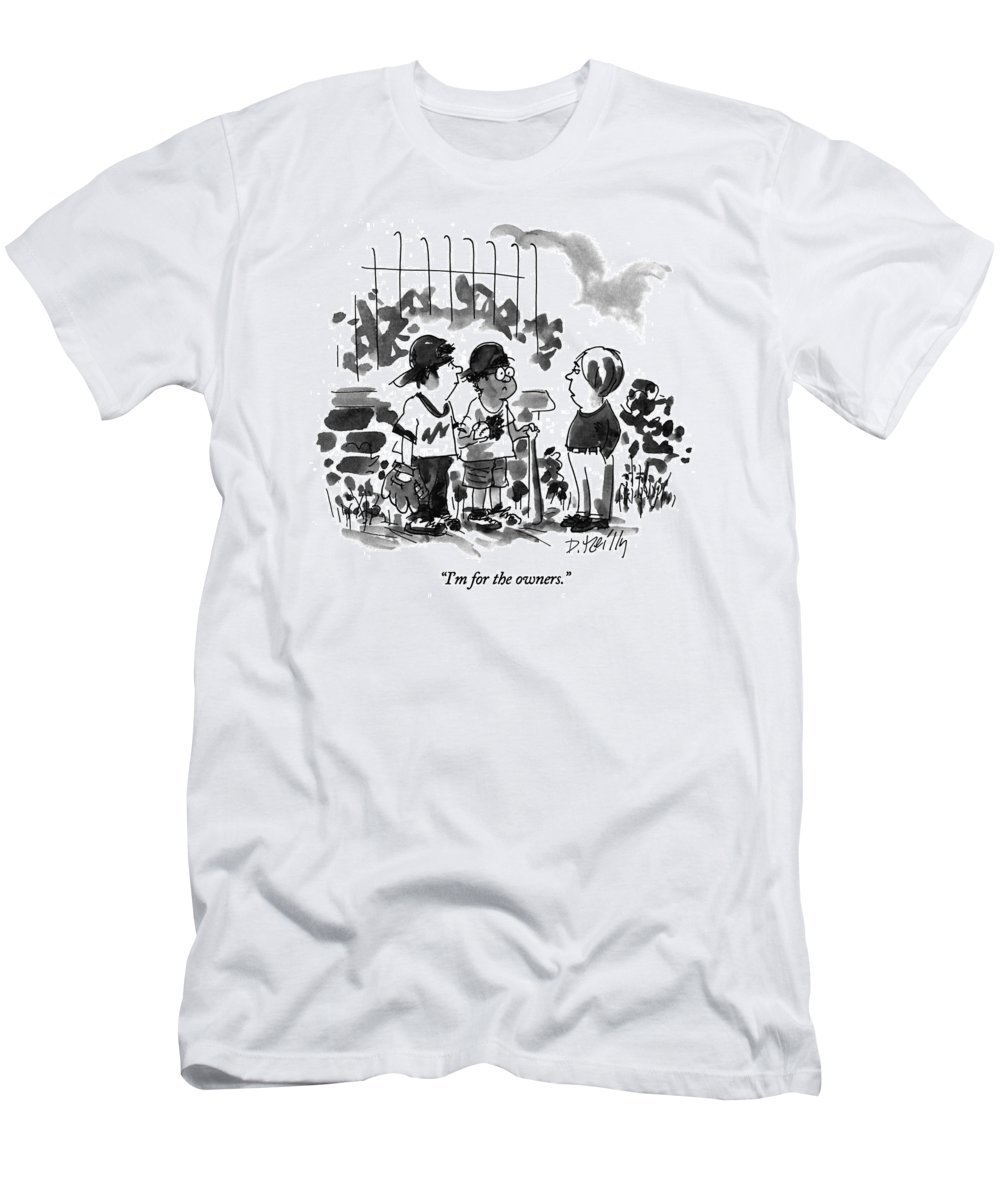 Sports T-Shirt featuring the drawing I'm For The Owners by Donald Reilly