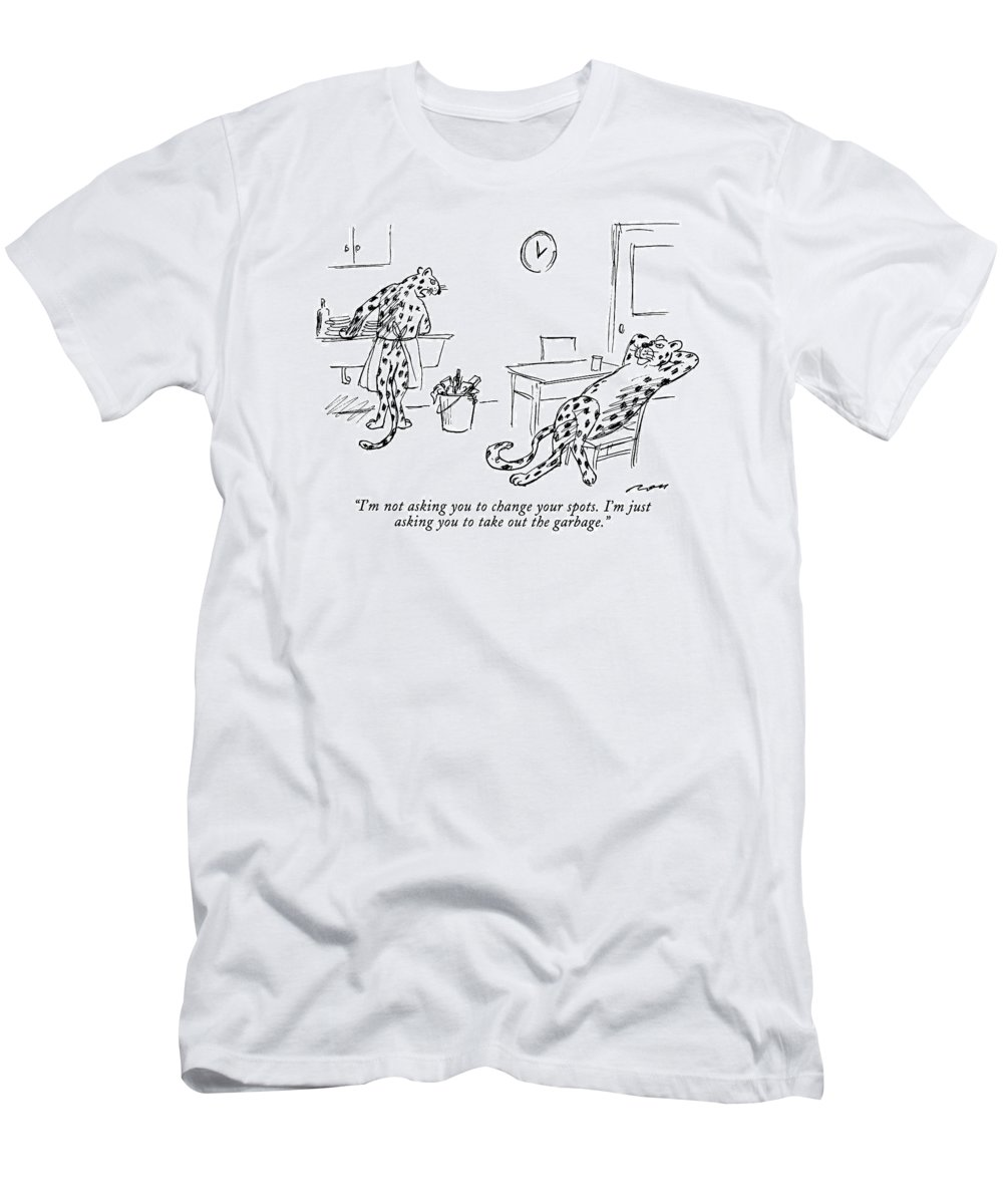 Relationships Men's T-Shirt (Athletic Fit) featuring the drawing I'm Not Asking You To Change Your Spots. I'm by Al Ross