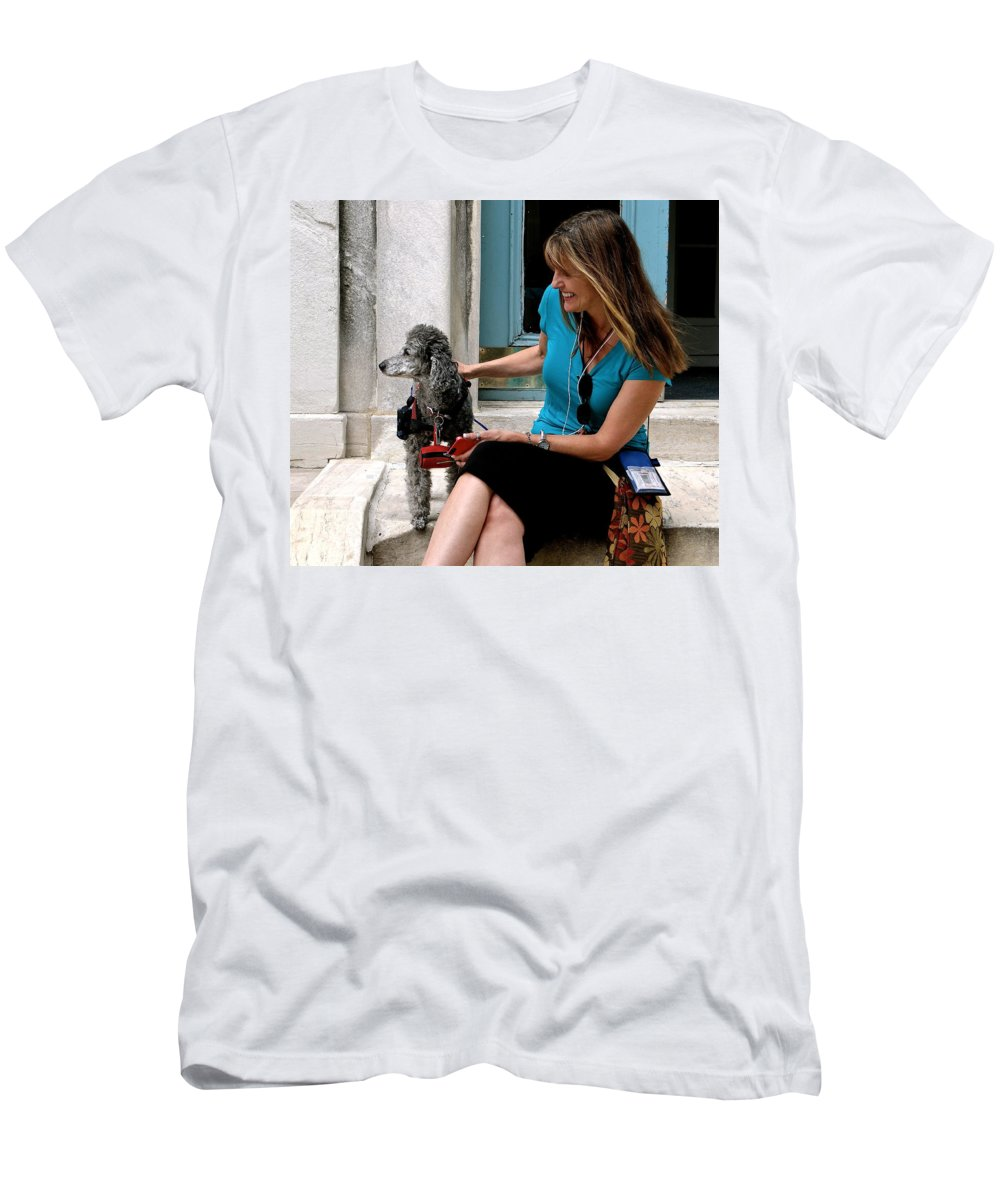 Poodles Men's T-Shirt (Athletic Fit) featuring the photograph I'm Ready For My Closeup Mr. Demille by Ira Shander