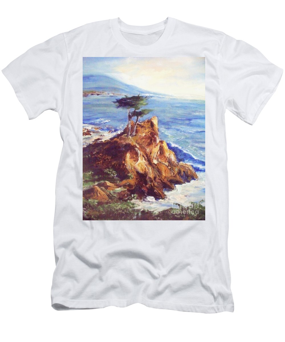 Seascape Men's T-Shirt (Athletic Fit) featuring the painting Imaginary Cypress by Eric Schiabor