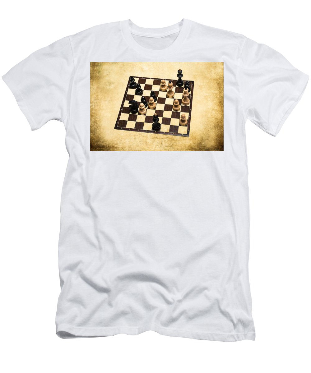 Chess Men's T-Shirt (Athletic Fit) featuring the photograph Immortal Chess - Botvinnik Vs Capablanca 1938 by Alexander Senin