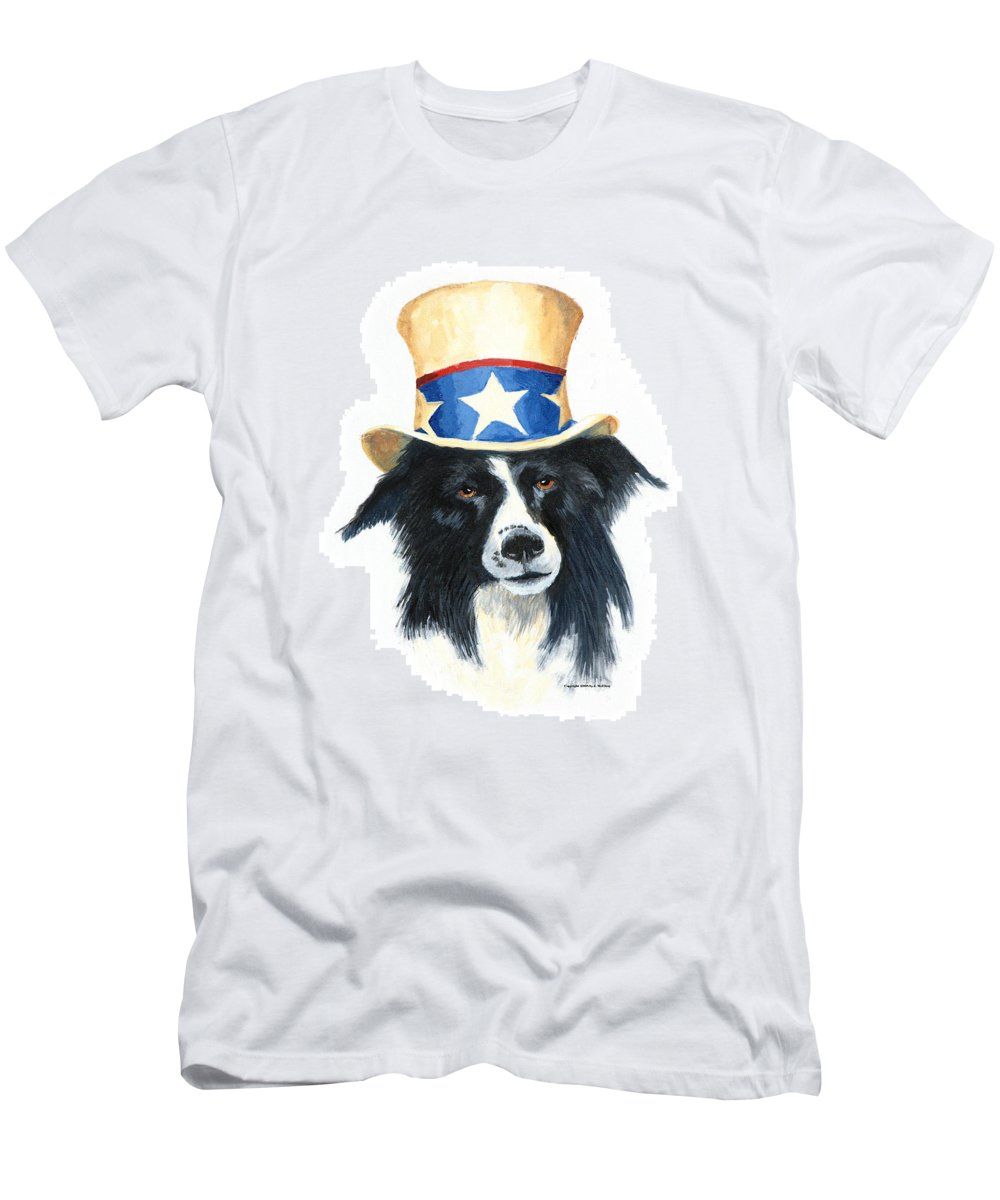 Dog Men's T-Shirt (Athletic Fit) featuring the painting In Dog We Trust by Jerry McElroy
