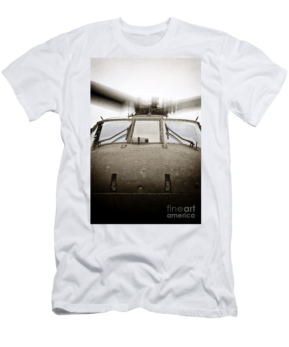 Helicopter; Military; Us Air Force; Us Army; Armed Forces; Transportation; Flight; Flying; Motion; War; Blades; Sky; United States Men's T-Shirt (Athletic Fit) featuring the photograph In Flight by Margie Hurwich