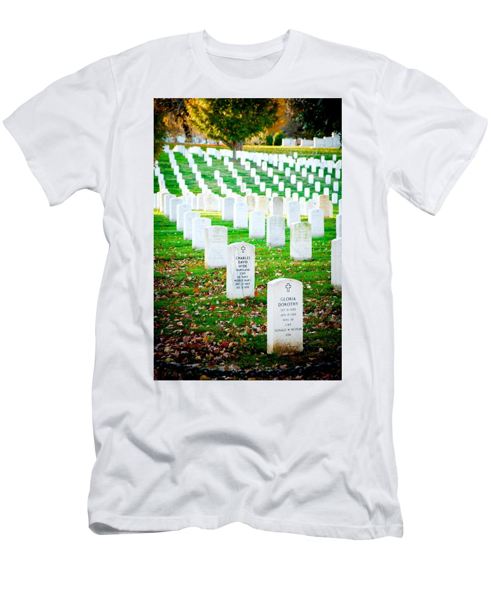 Arlington Cemetery Men's T-Shirt (Athletic Fit) featuring the photograph In Honor And Tribute by Greg Fortier