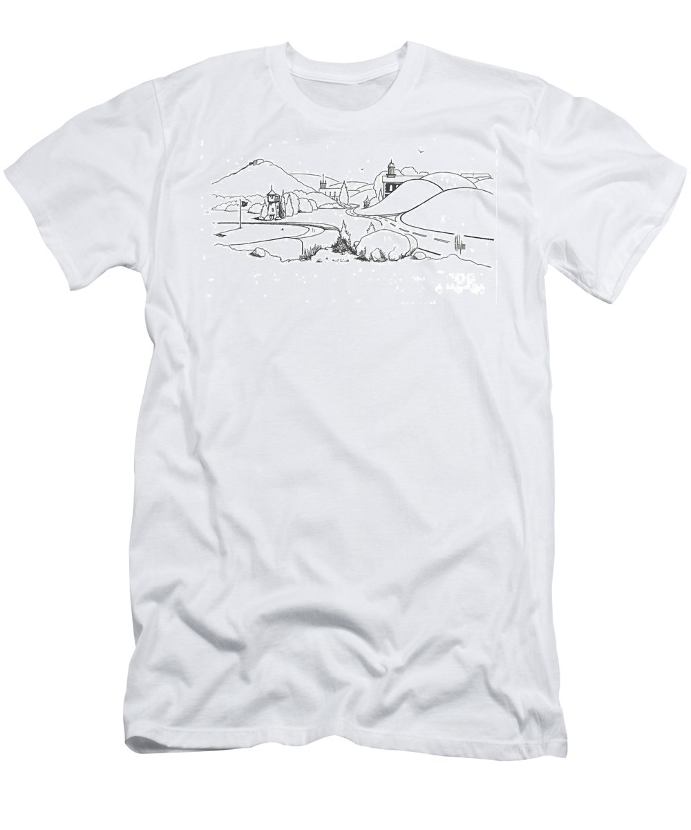 In The Land Of Brigadoon Men's T-Shirt (Athletic Fit) featuring the drawing In The Land Of Brigadoon by Kip DeVore