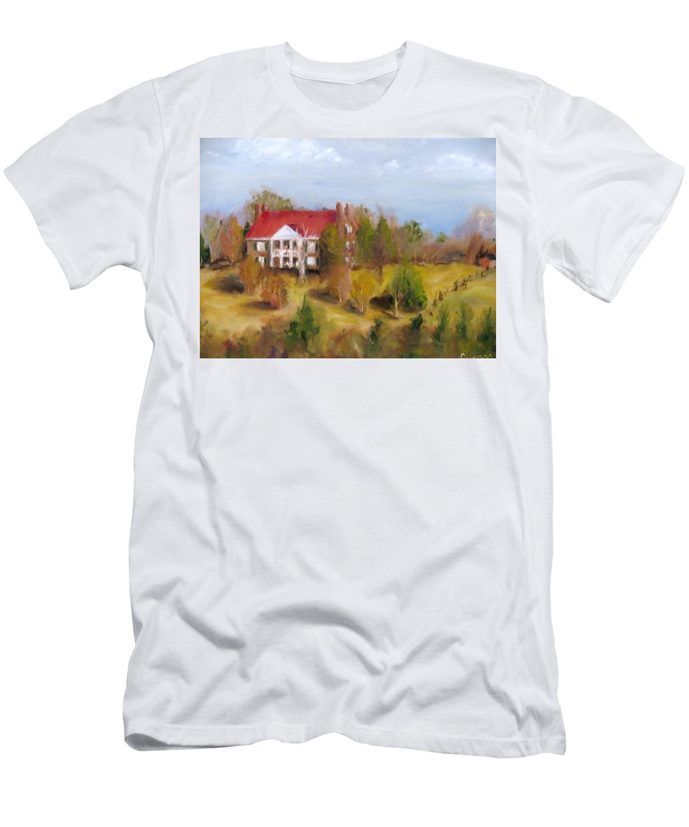 Plantation Men's T-Shirt (Athletic Fit) featuring the painting In The Land Of Cotton by Susan Elizabeth Jones