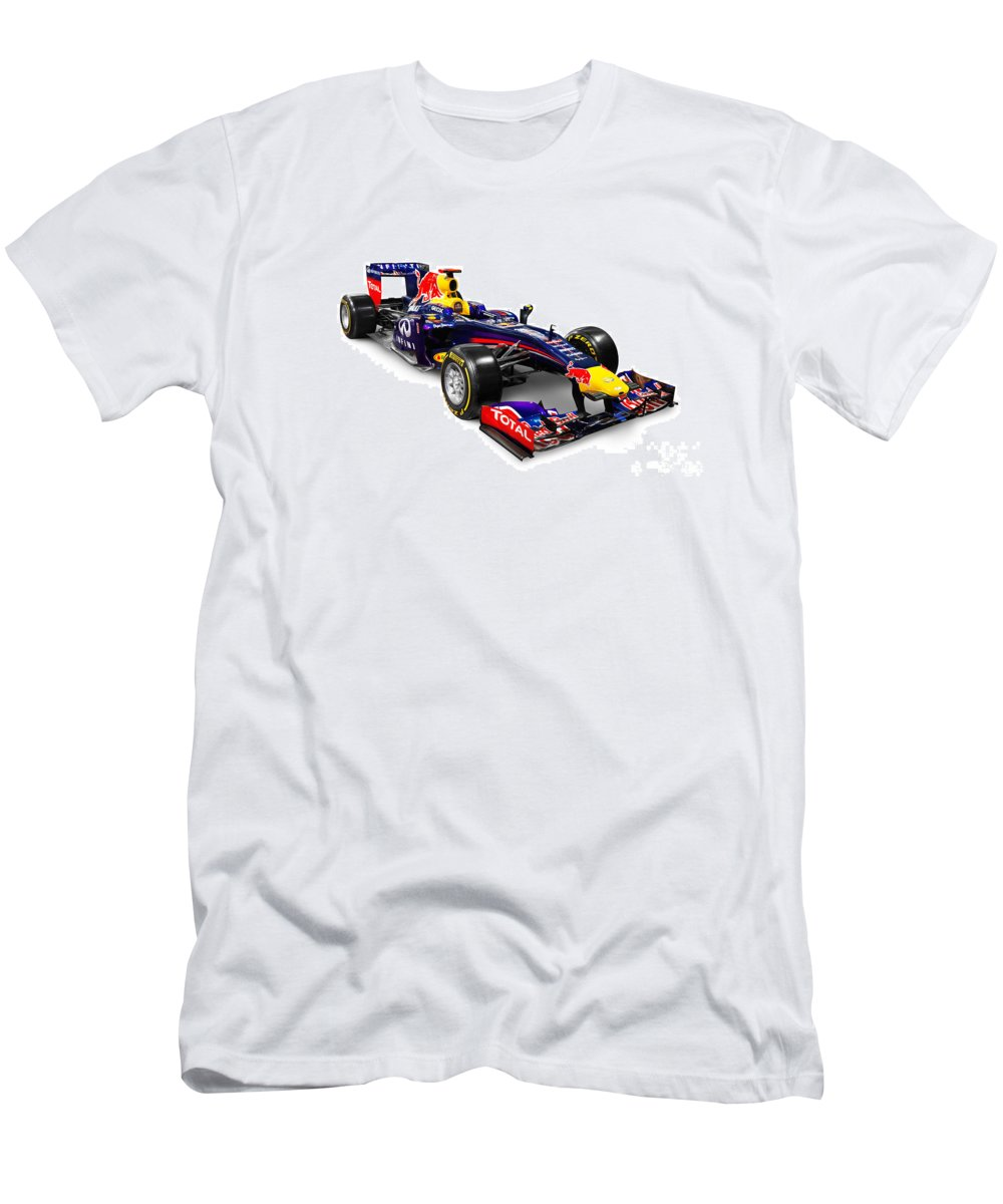 Race Car Men's T-Shirt (Athletic Fit) featuring the photograph Infinity Red Bull Rb9 Formula 1 Race Car by Oleksiy Maksymenko