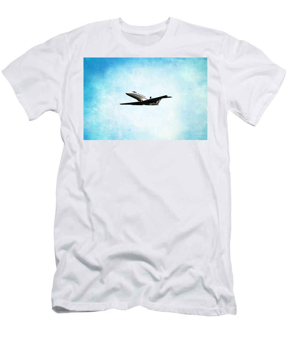 Jet Men's T-Shirt (Athletic Fit) featuring the photograph Into The Wild Blue Yonder by Thomas Woolworth