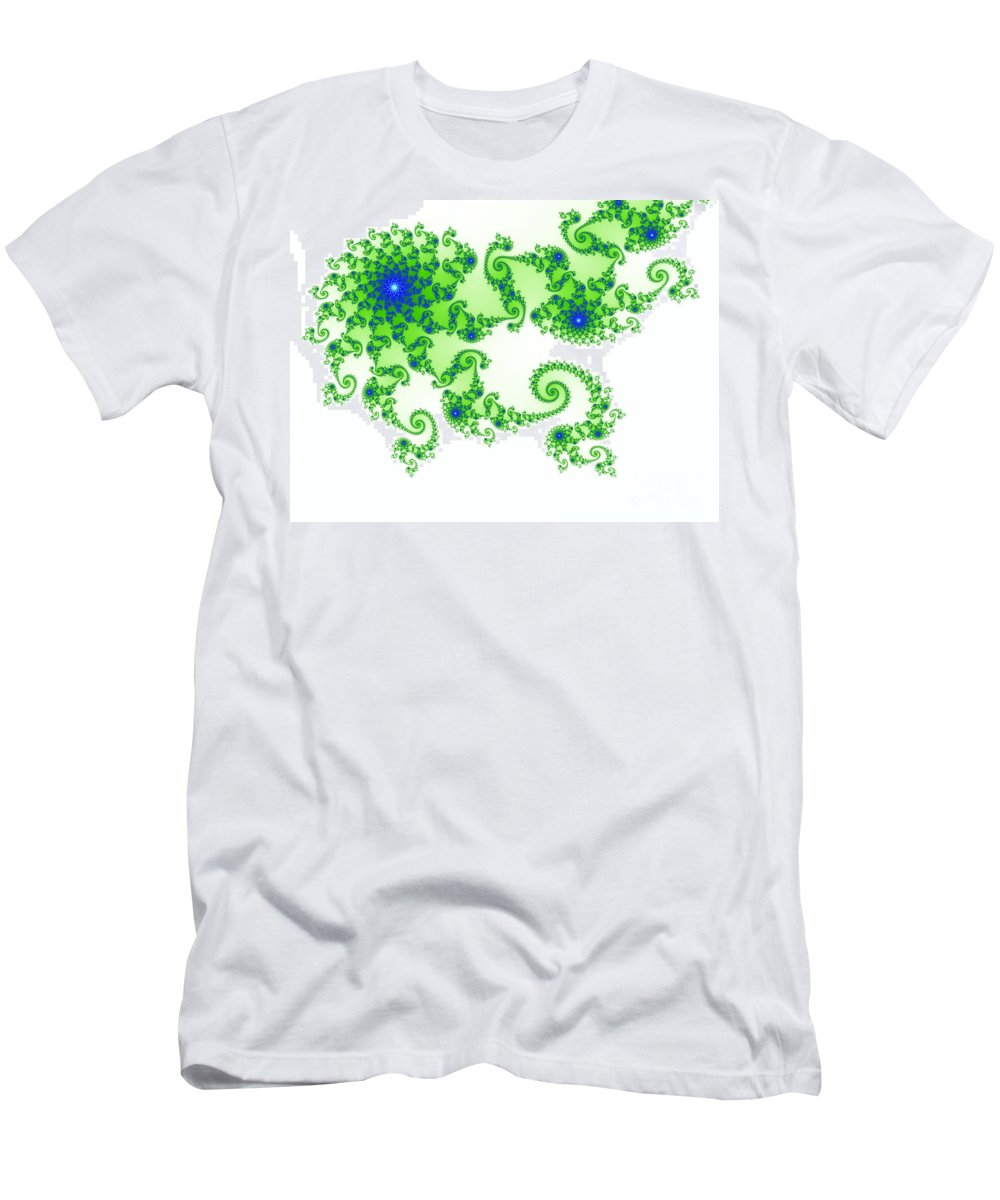 Abstract Men's T-Shirt (Athletic Fit) featuring the photograph Intricate Green Blue Fractal Based On Julia Set by Stephan Pietzko