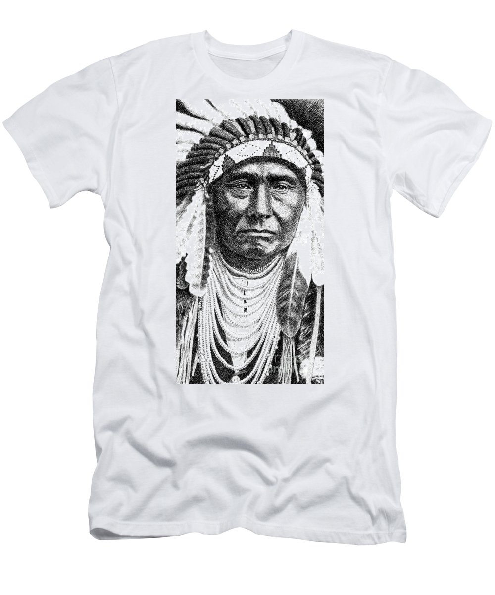 Native Men's T-Shirt (Athletic Fit) featuring the drawing iPhone-Case-Chief-Joseph by Gordon Punt