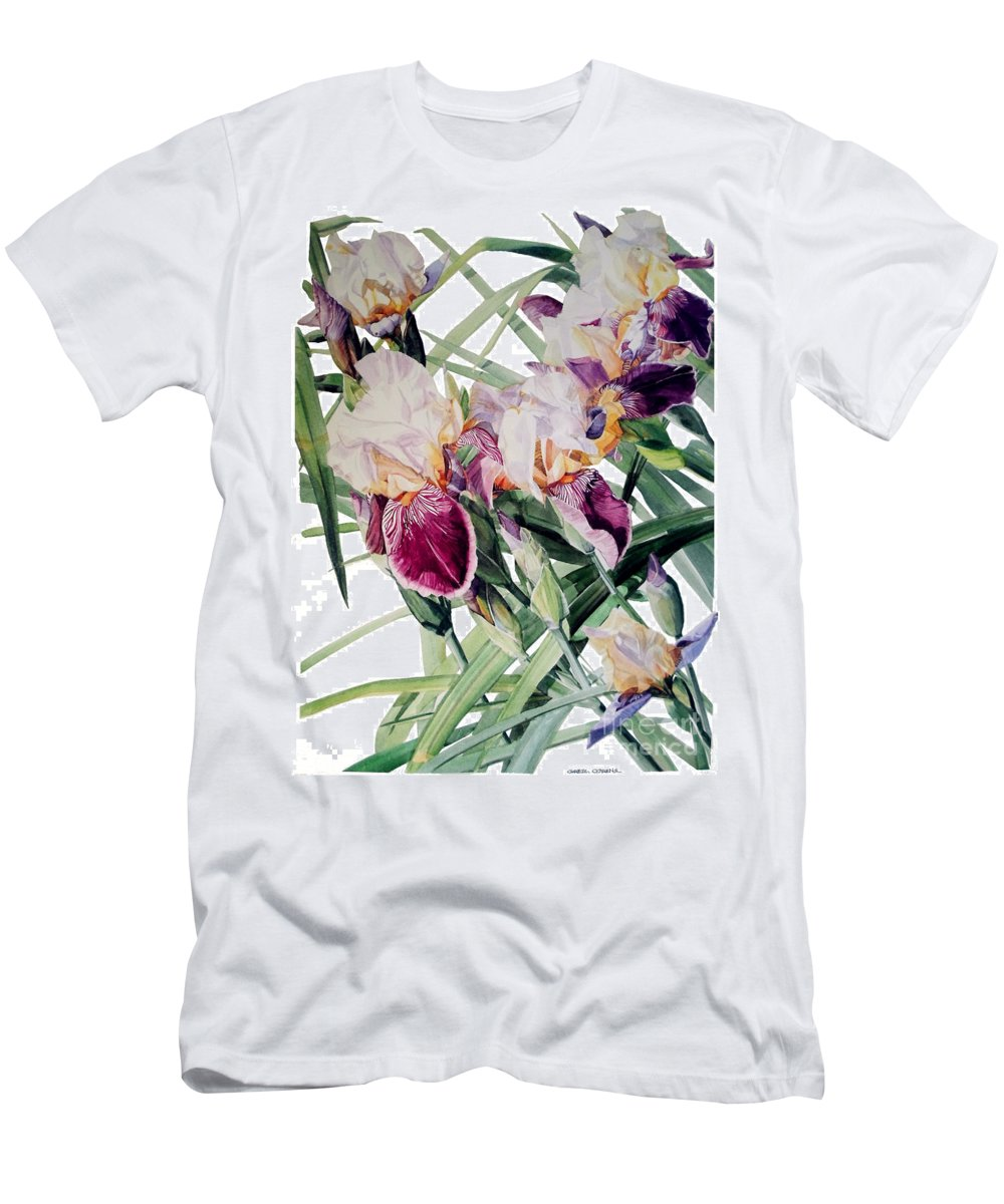 ​watercolor Men's T-Shirt (Athletic Fit) featuring the painting Watercolor Of Tall Bearded Irises I Call Iris Vivaldi Spring by Greta Corens