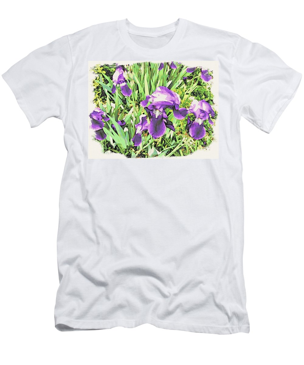 Irises Men's T-Shirt (Athletic Fit) featuring the photograph Irises In The Garden by Alice Gipson