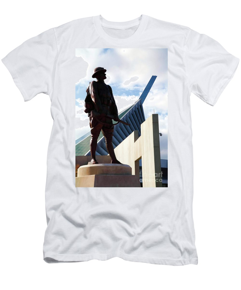 Iron Mike At The Marine Corps Museum With Digital Effects Men's T-Shirt  (Athletic Fit)