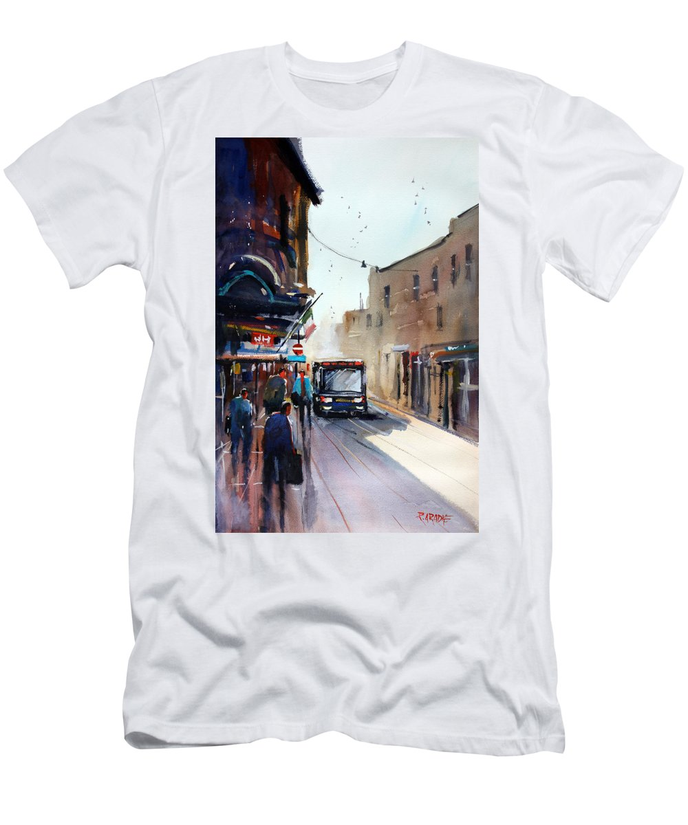 Ryan Radke Men's T-Shirt (Athletic Fit) featuring the painting Italian Bus Stop by Ryan Radke