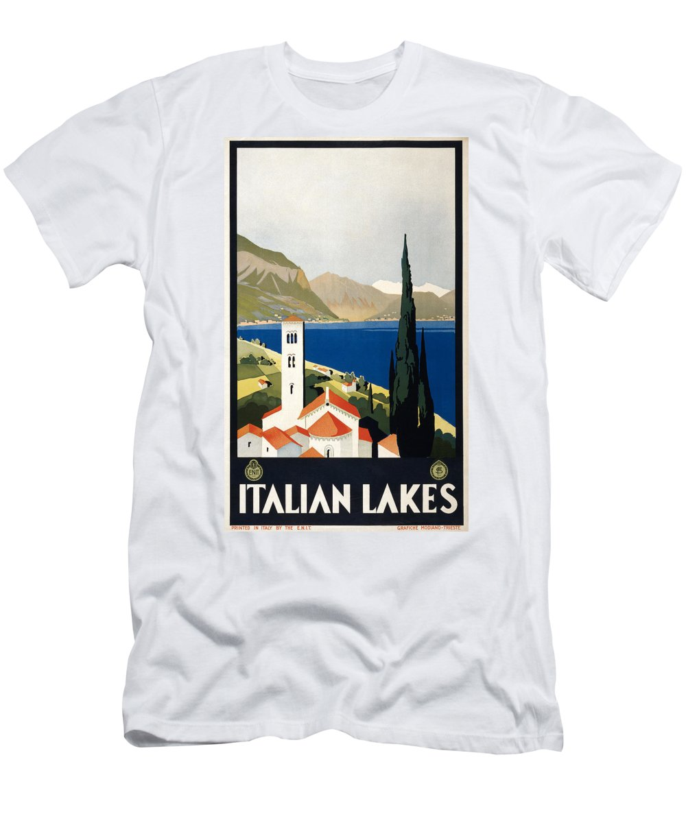 1930 Men's T-Shirt (Athletic Fit) featuring the photograph Italian Travel Poster, C1930 by Granger