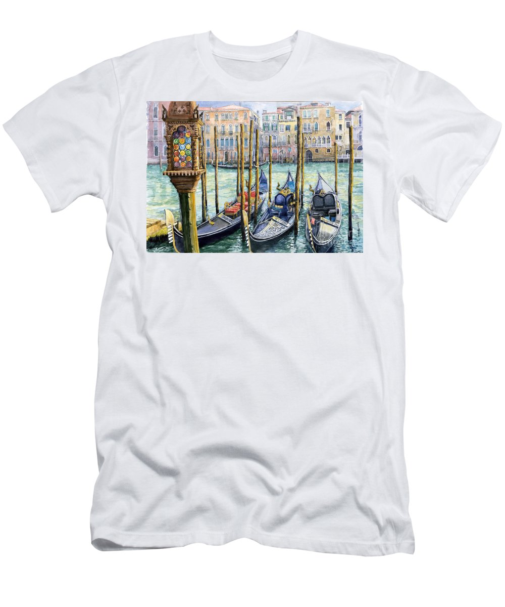 Watercolor Men's T-Shirt (Athletic Fit) featuring the painting Italy Venice Lamp by Yuriy Shevchuk