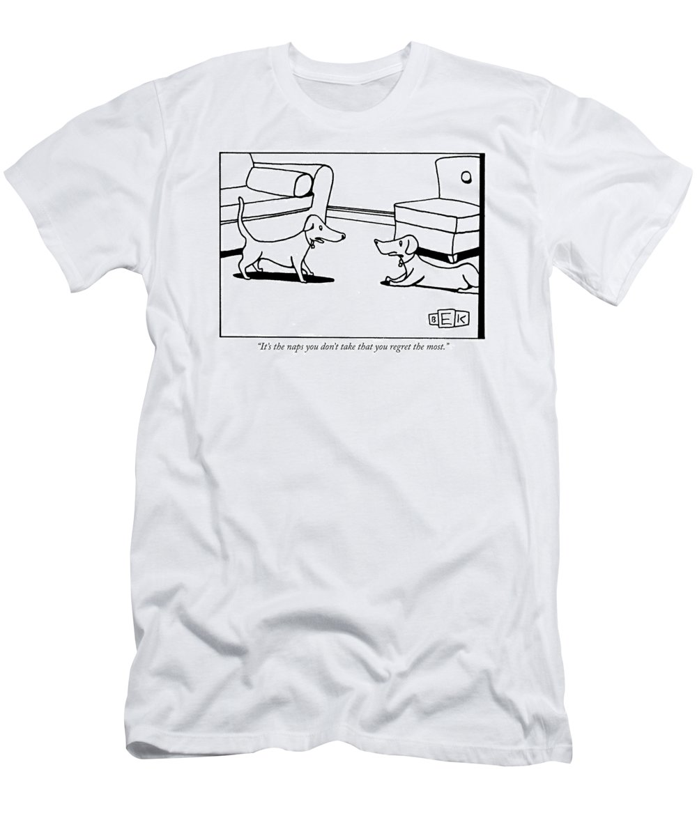 Animals Men's T-Shirt (Athletic Fit) featuring the drawing It's The Naps You Don't Take That You Regret by Bruce Eric Kaplan