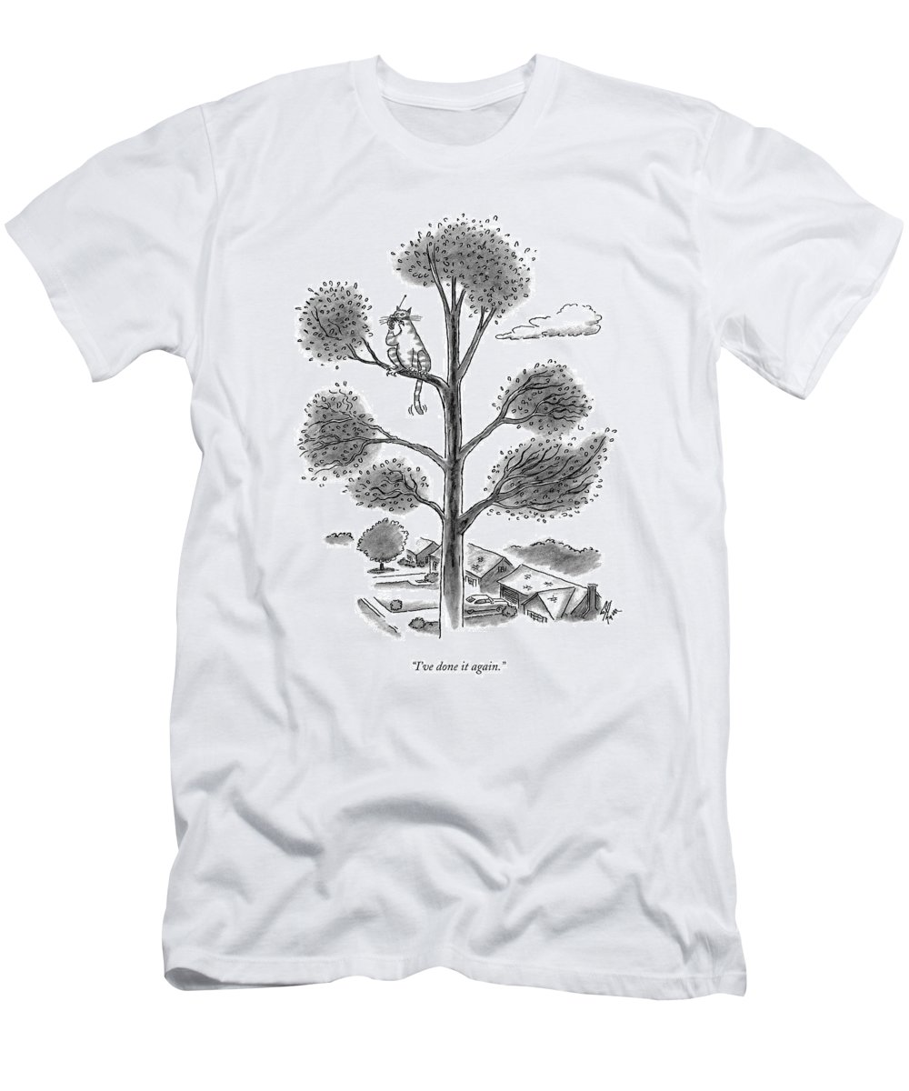 Cats Men's T-Shirt (Athletic Fit) featuring the drawing I've Done It Again by Frank Cotham
