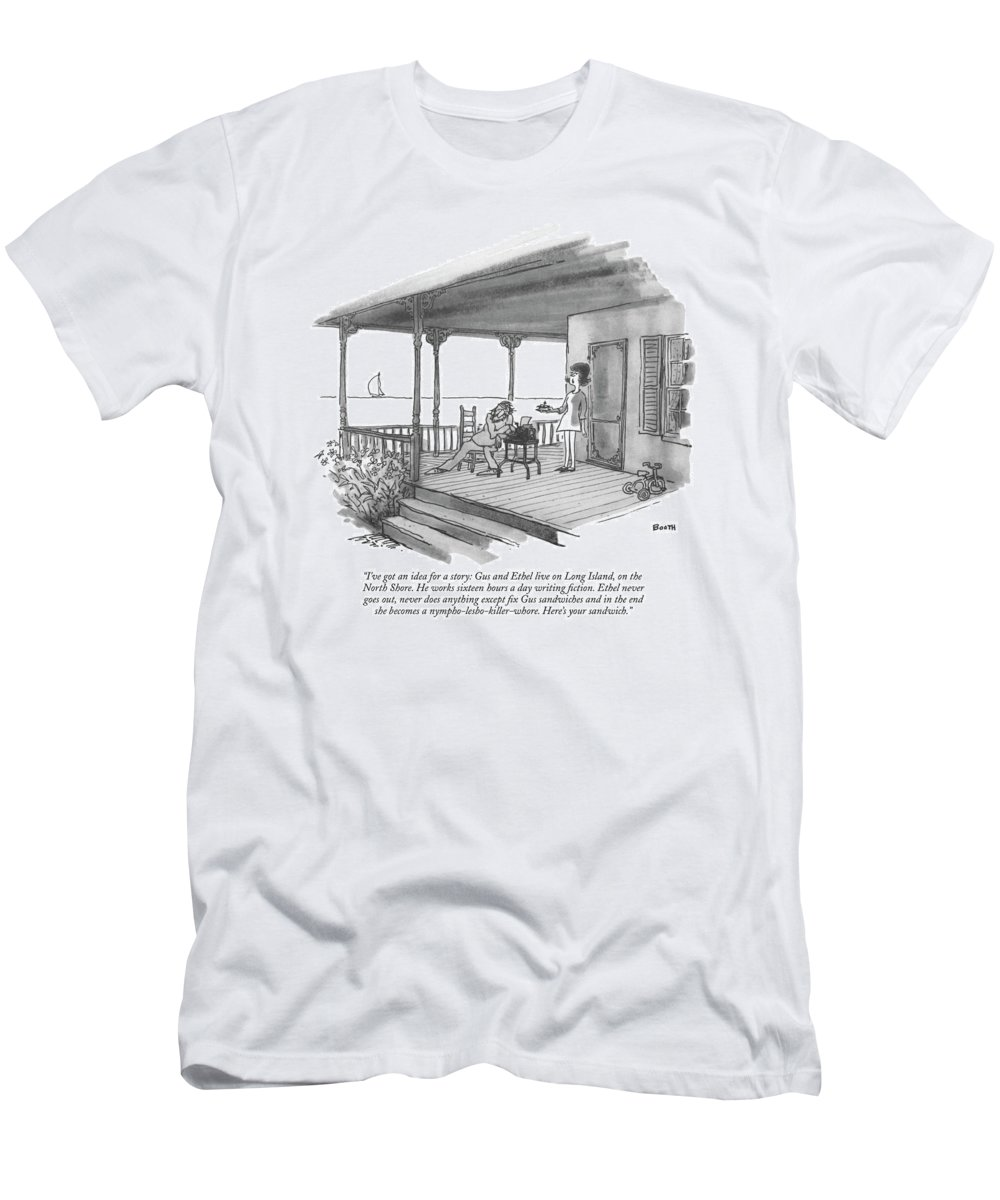 Marriage T-Shirt featuring the drawing I've Got An Idea For A Story: Gus And Ethel Live by George Booth
