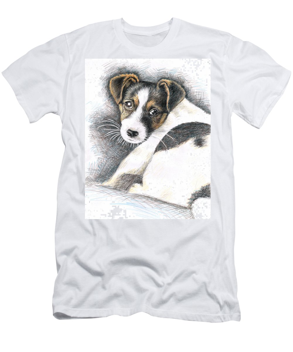 Dog Men's T-Shirt (Athletic Fit) featuring the drawing Jack Russell Puppy by Nicole Zeug