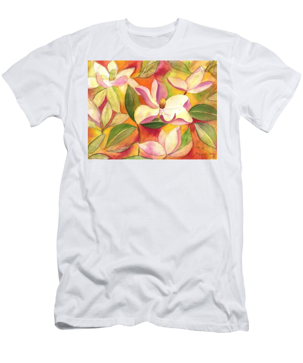Japanese Magnolia Men's T-Shirt (Athletic Fit) featuring the painting Japanese Magnolia by Kelly Perez