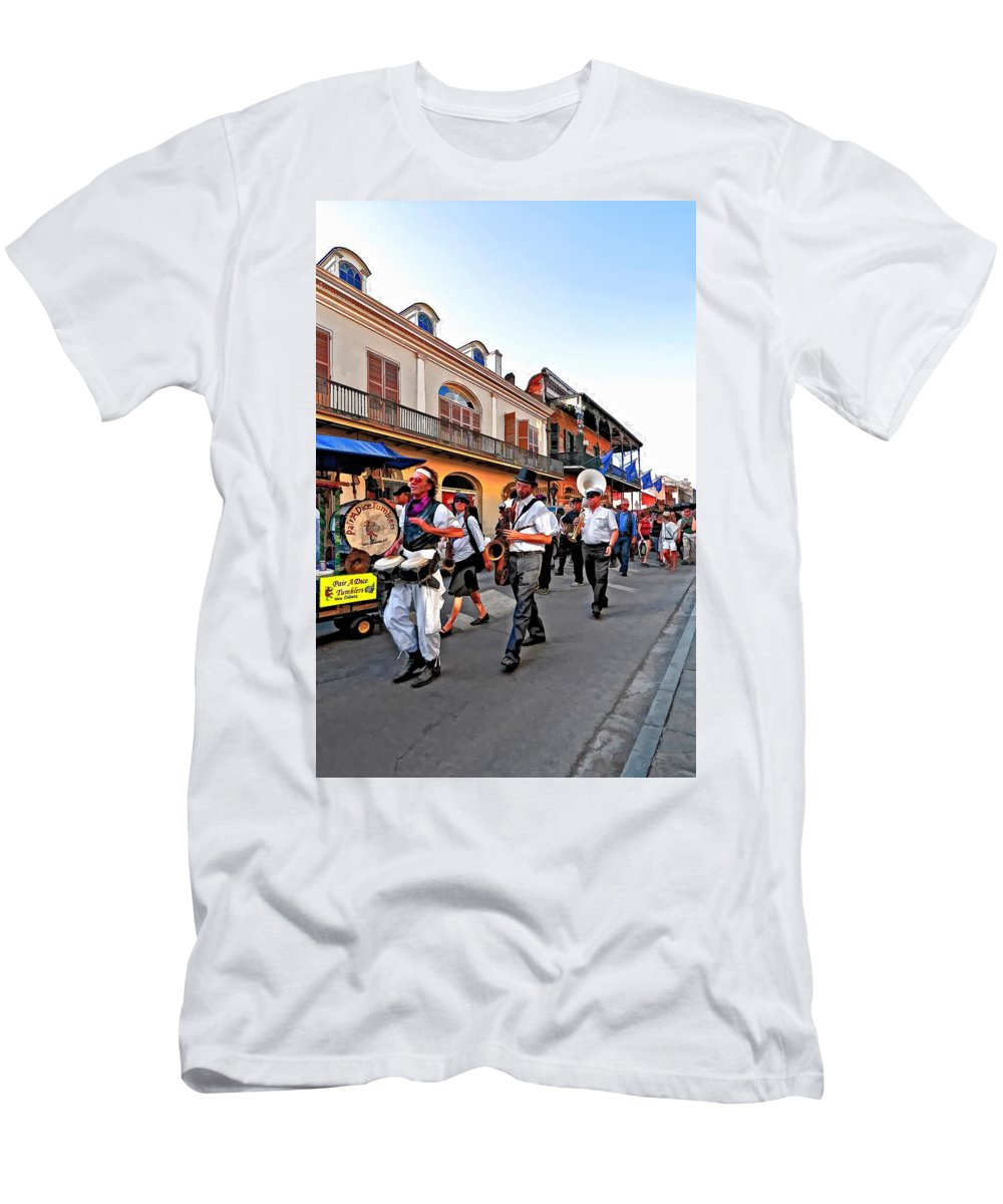 French Quarter Men's T-Shirt (Athletic Fit) featuring the photograph Jazz Funeral by Steve Harrington