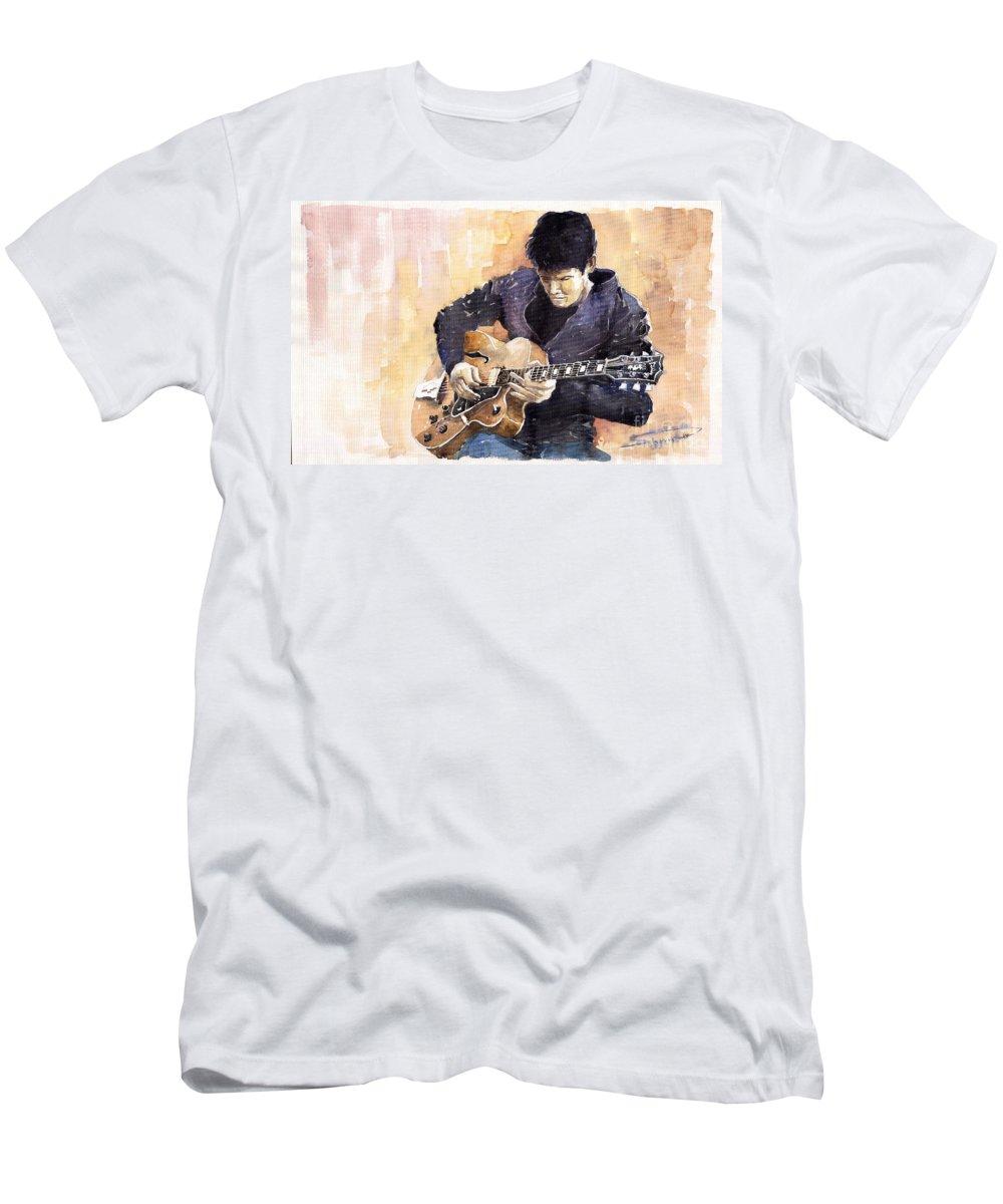 Gutarist Impressionist Instrument Jazz John Legend Mayer Music Musician Portret Rock Watercolour Men's T-Shirt (Athletic Fit) featuring the painting Jazz Rock John Mayer 02 by Yuriy Shevchuk