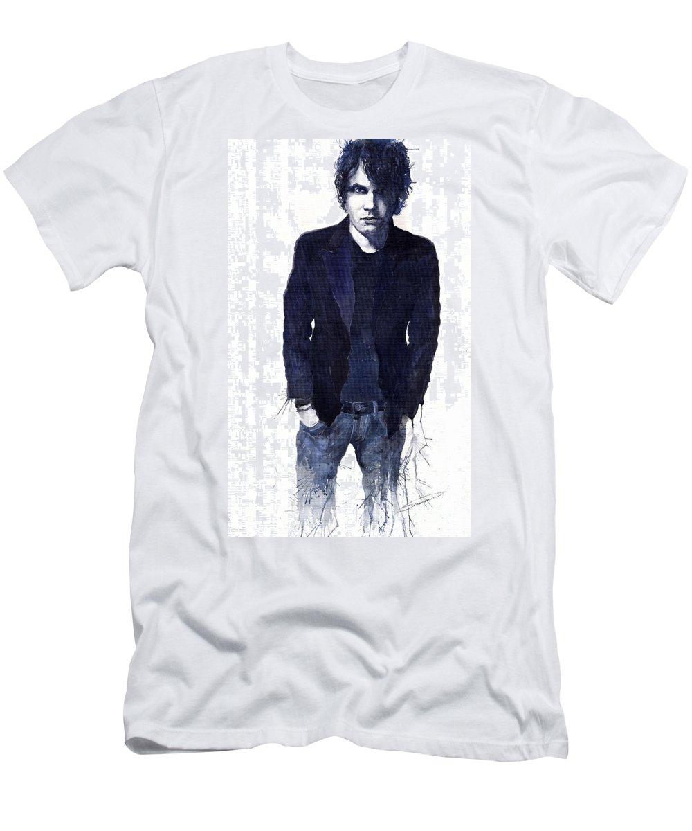Jazz Men's T-Shirt (Athletic Fit) featuring the painting Jazz Rock John Mayer 07 by Yuriy Shevchuk