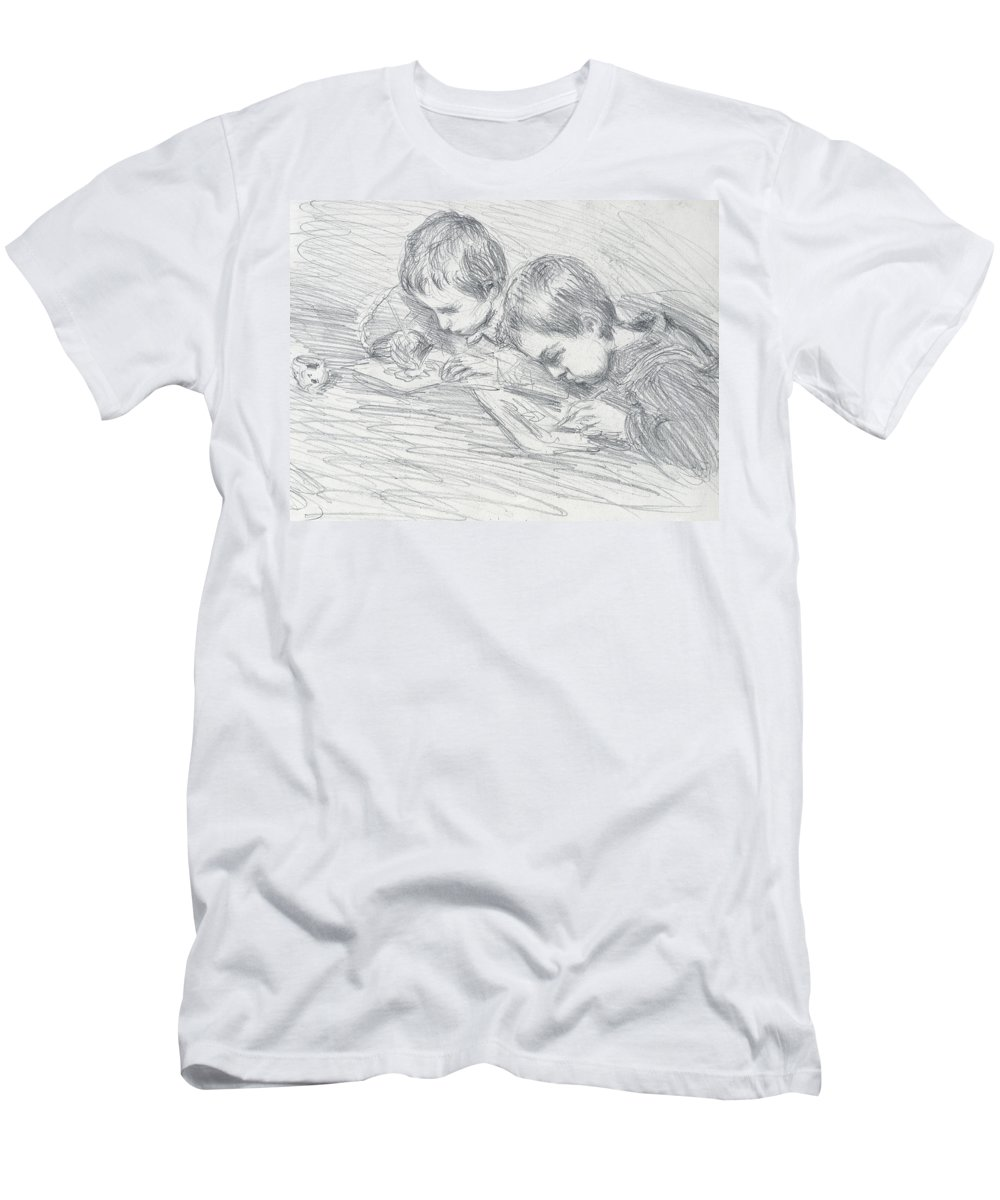 French Men's T-Shirt (Athletic Fit) featuring the drawing Jean Pierre Hoschede And Michel Monet by Claude Monet