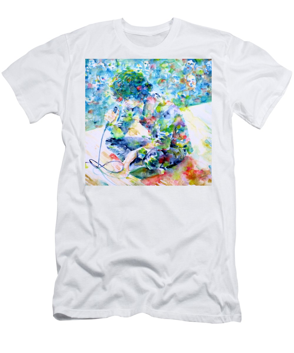 Doors Men's T-Shirt (Athletic Fit) featuring the painting Jim Morrison Live On Stage.1 by Fabrizio Cassetta