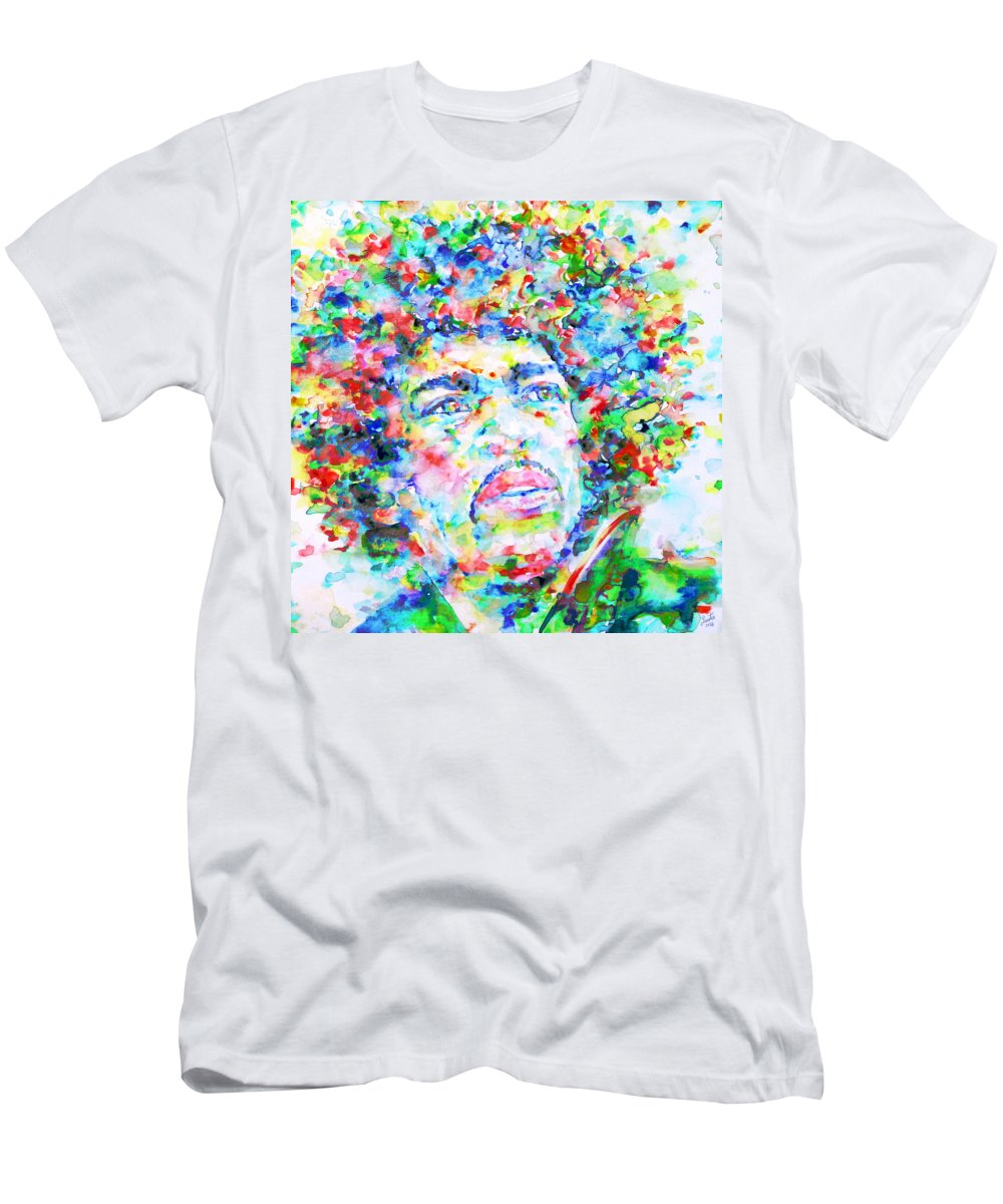 Jimi Hendrix Men's T-Shirt (Athletic Fit) featuring the painting Jimi Hendrix - Watercolor Portrait.3 by Fabrizio Cassetta