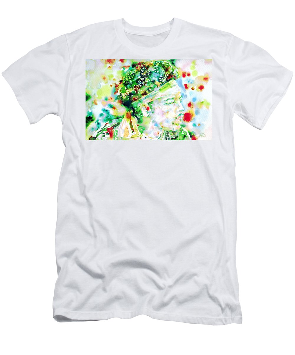Jimi Men's T-Shirt (Athletic Fit) featuring the painting Jimi Hendrix - Watercolor Portrait.4 by Fabrizio Cassetta