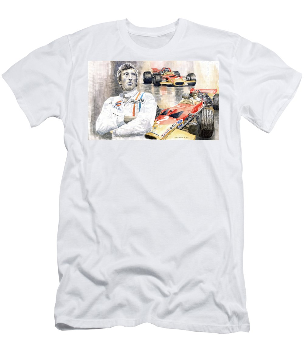 Watercolor Men's T-Shirt (Athletic Fit) featuring the painting Jochen Rindt Golden Leaf Team Lotus Lotus 49b Lotus 49c by Yuriy Shevchuk
