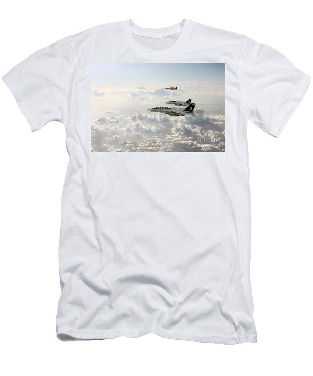 F14 Tomcat Men's T-Shirt (Athletic Fit) featuring the digital art Jolly Rogers by J Biggadike
