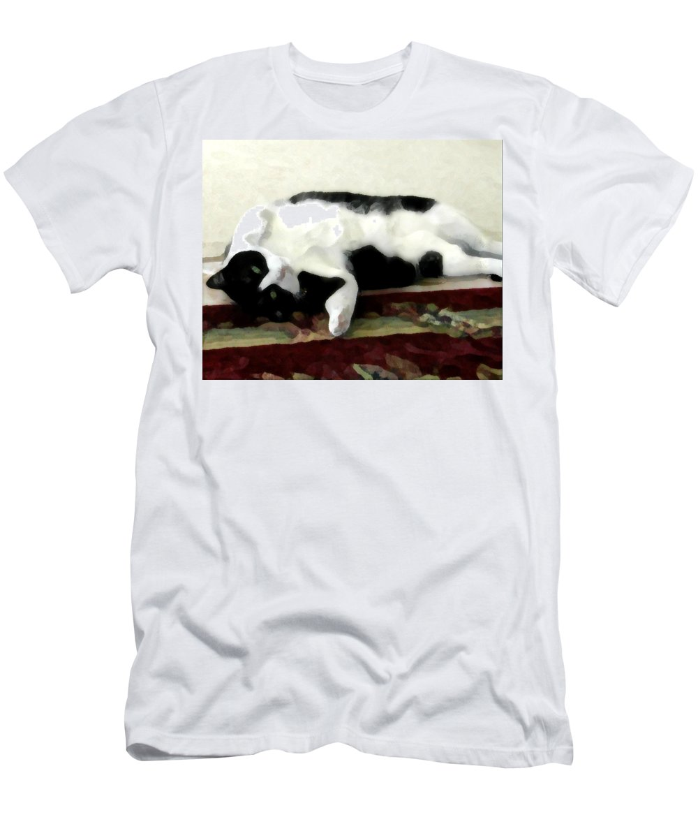 Black And White T-Shirt featuring the photograph Joyful Kitty by Jeanne A Martin